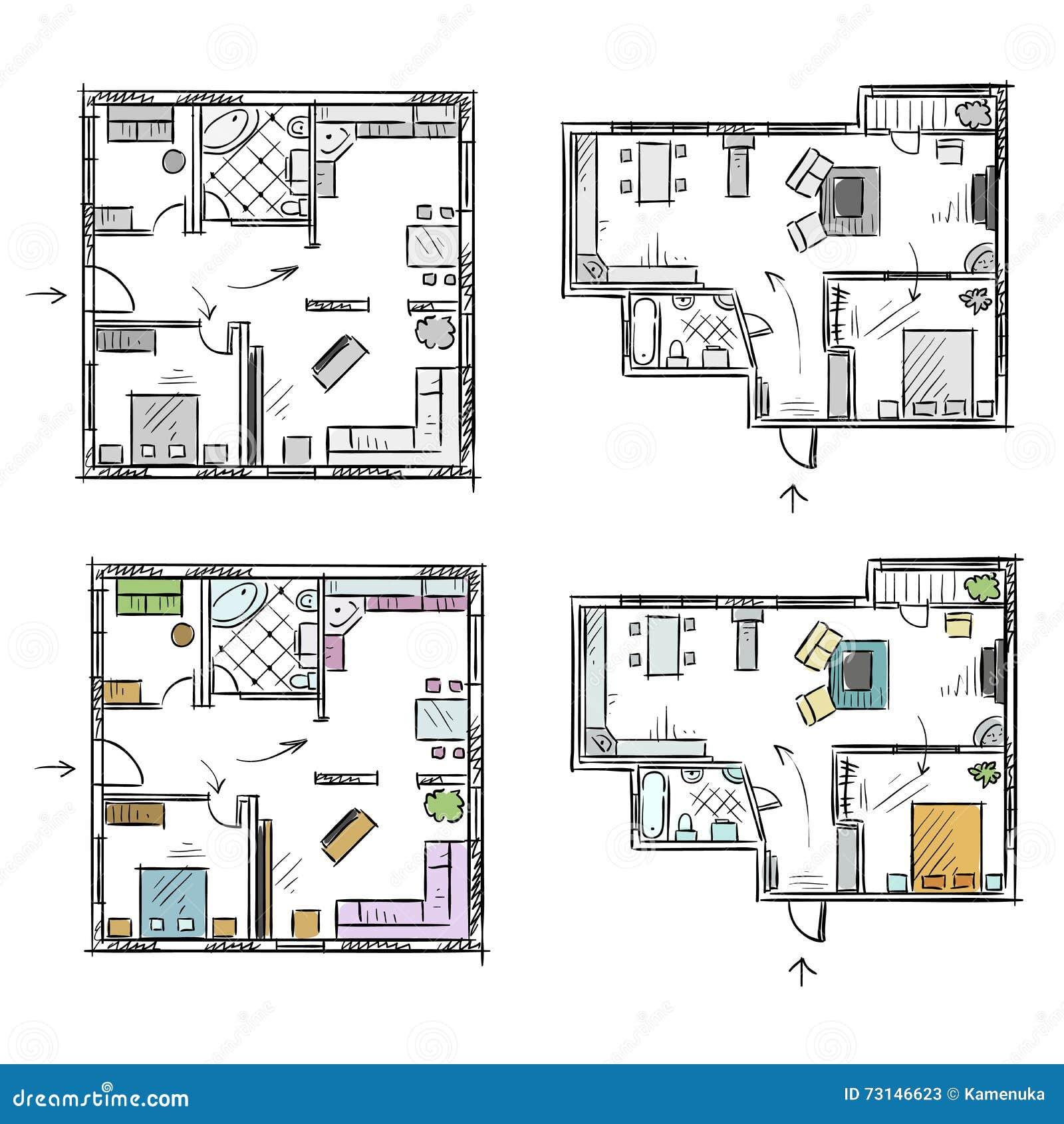 Wohnungsplan  Wohnungsplan Mit Möbeln, Vektorskizze Vektor Abbildung - Bild ...