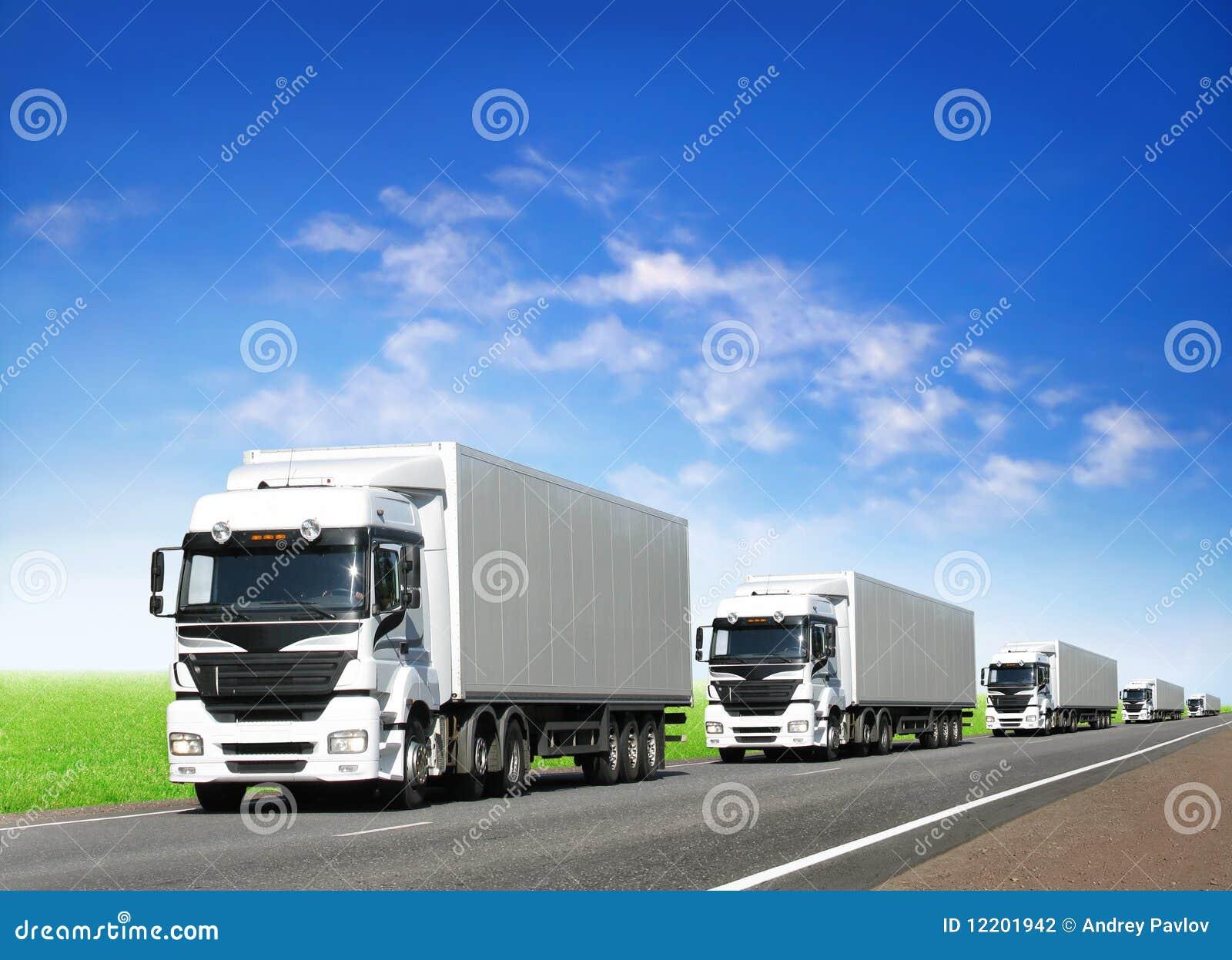 Wohnwagen der weißen LKWas auf Datenbahn unter blauem Himmel