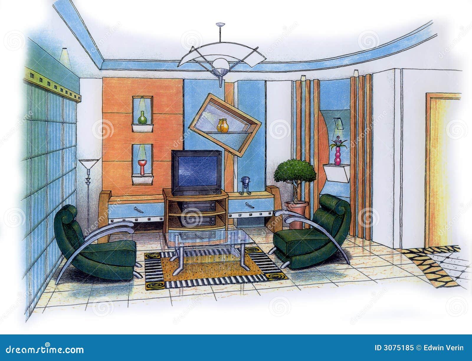 Innenarchitektur skizze wohnzimmer  Wohnzimmer Lizenzfreies Stockfoto - Bild: 3075185