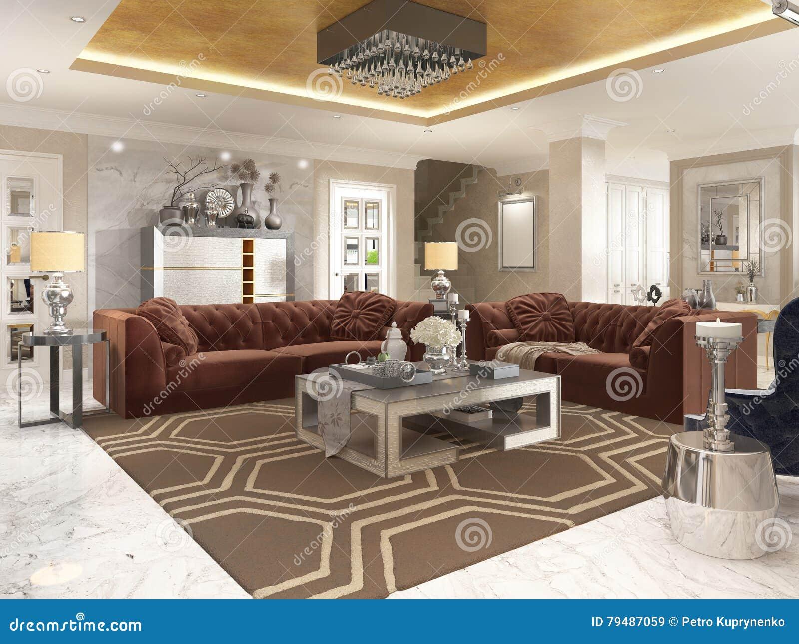 Wohnzimmer In Art Deco Art Mit Gepolstertem Designer Furnitur Stock ...