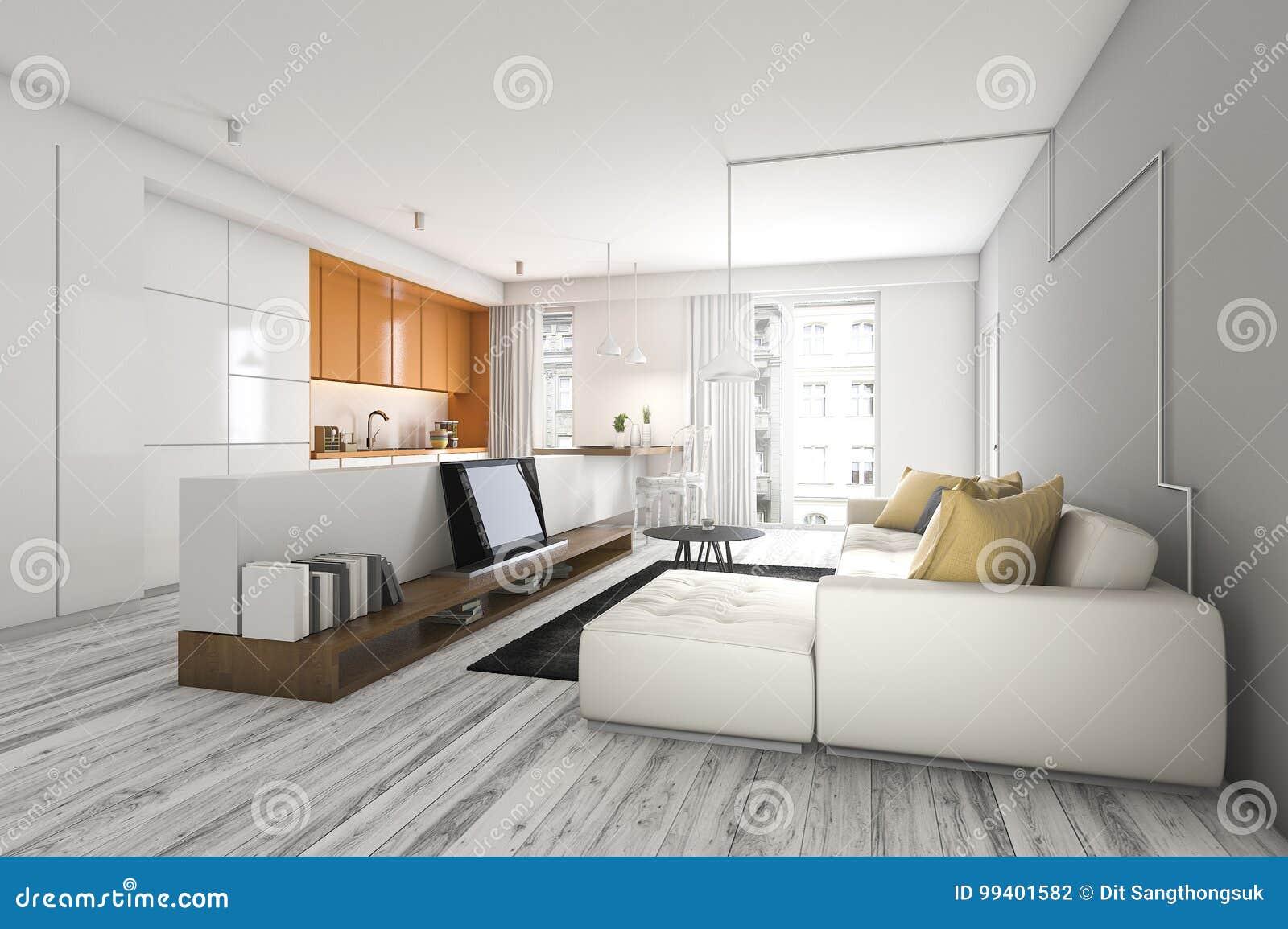 3d Fußboden Wohnzimmer ~ Wohnzimmer der wiedergabe d mit sofa und fernsehen nahe