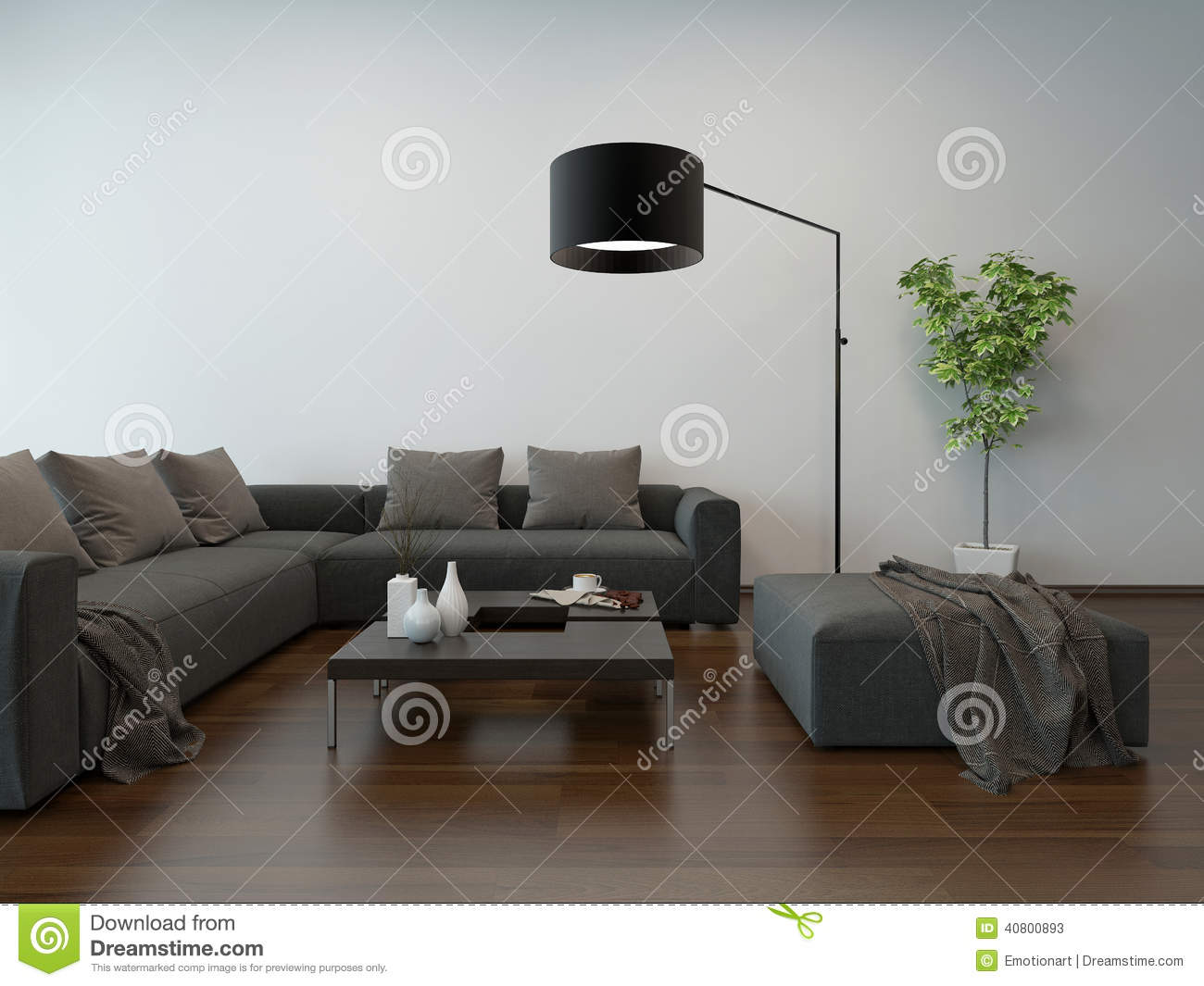 wohnzimmer innenw graue couch und stehlampe stock abbildung bild 40800893. Black Bedroom Furniture Sets. Home Design Ideas