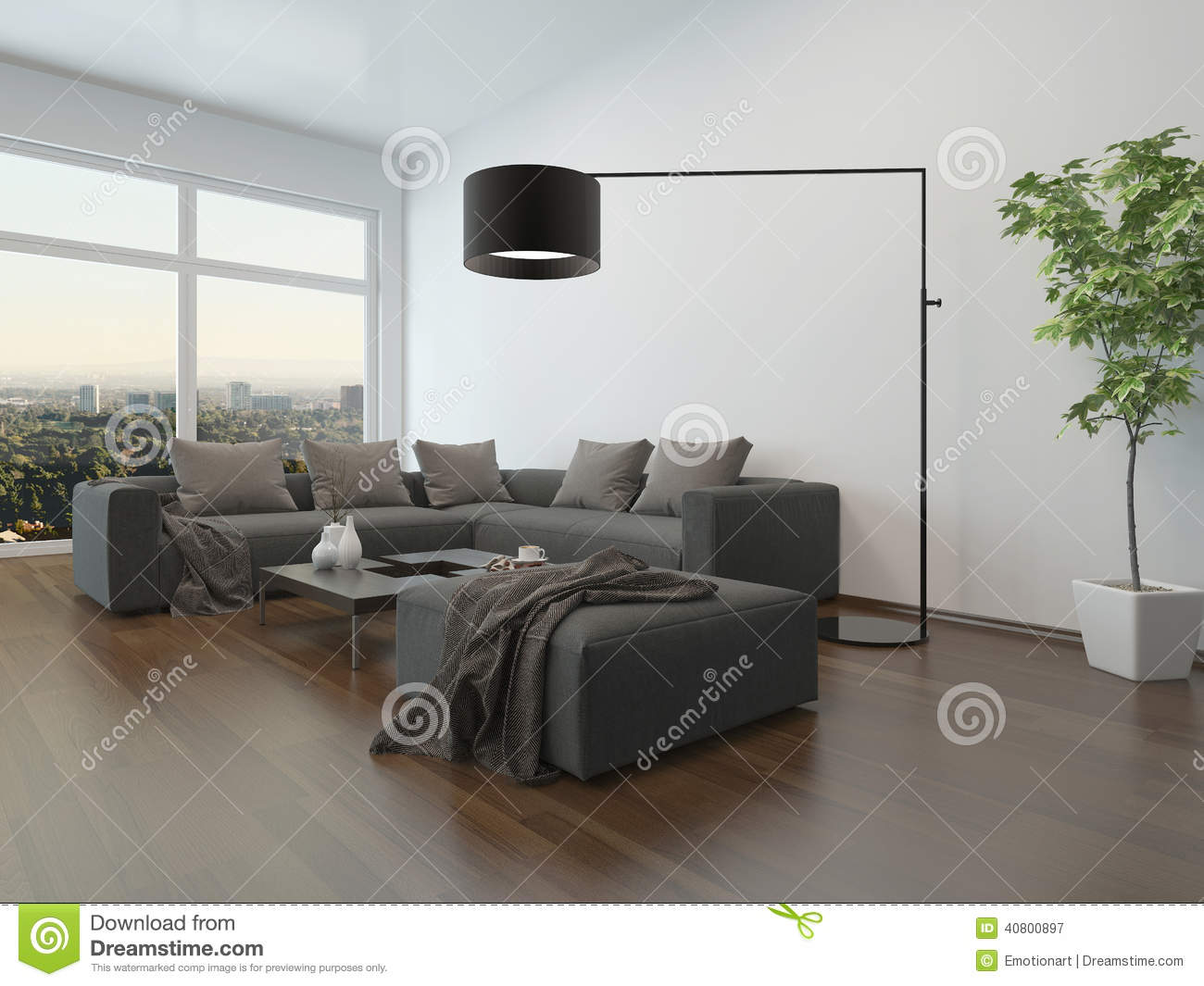 wohnzimmer innenw graue couch und stehlampe stock. Black Bedroom Furniture Sets. Home Design Ideas