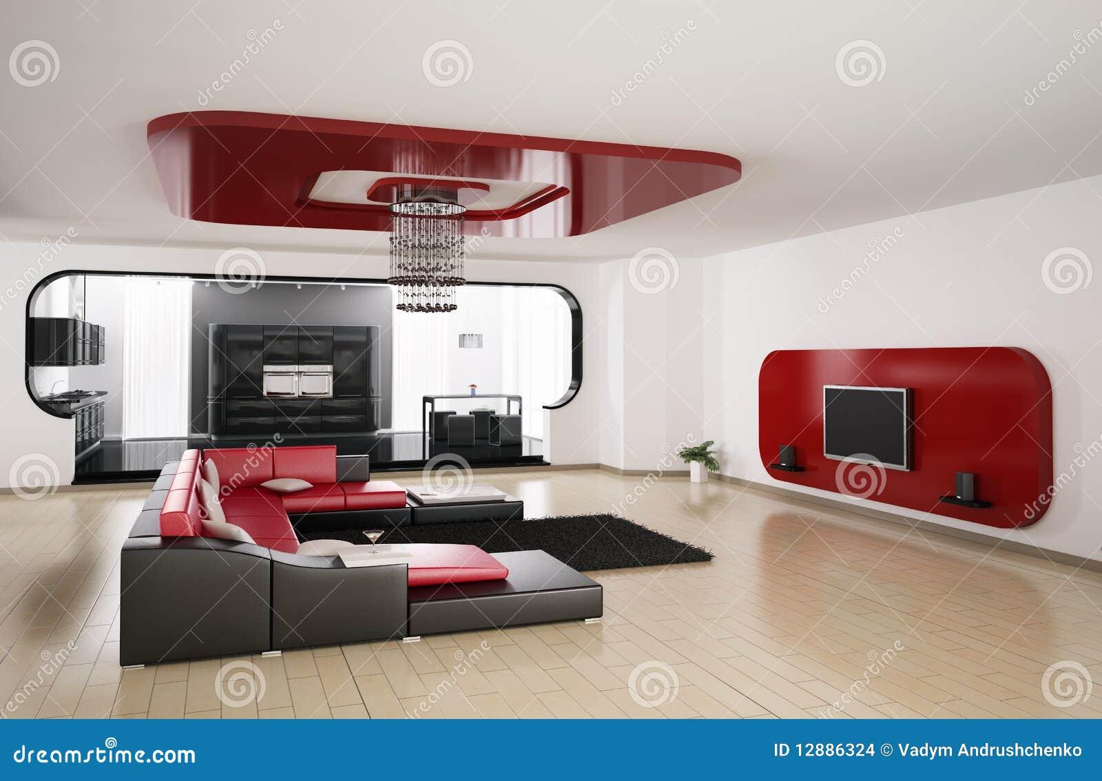 Wohnzimmer, Küche 3d übertragen Stock Abbildung - Illustration von ...
