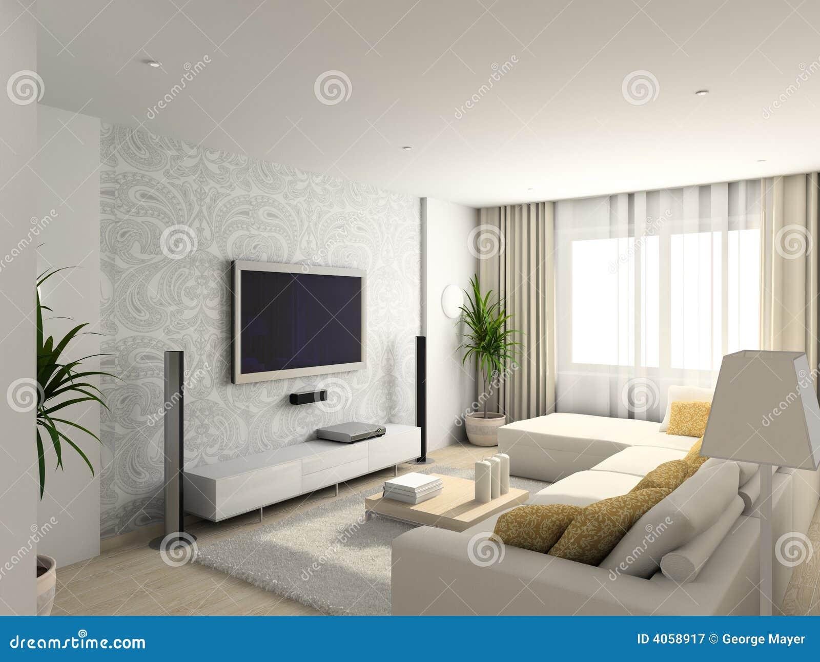 Wohnzimmer Mit Den Modernen Mobeln Stock Abbildung Illustration