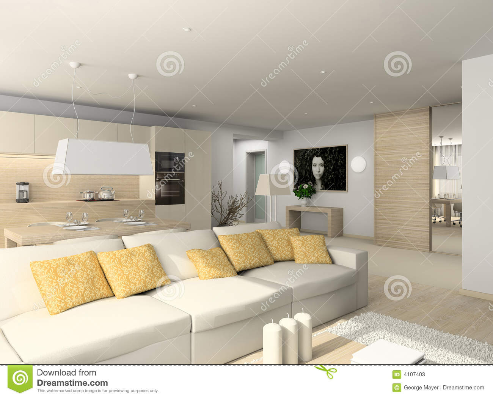 Wohnzimmer Mit Den Modernen Möbeln Stock Abbildung - Illustration ...