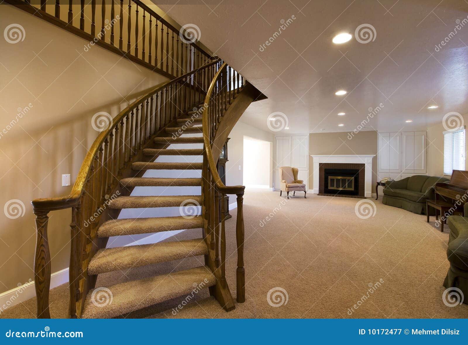 treppe im wohnzimmer stockfoto - bild: 55580945