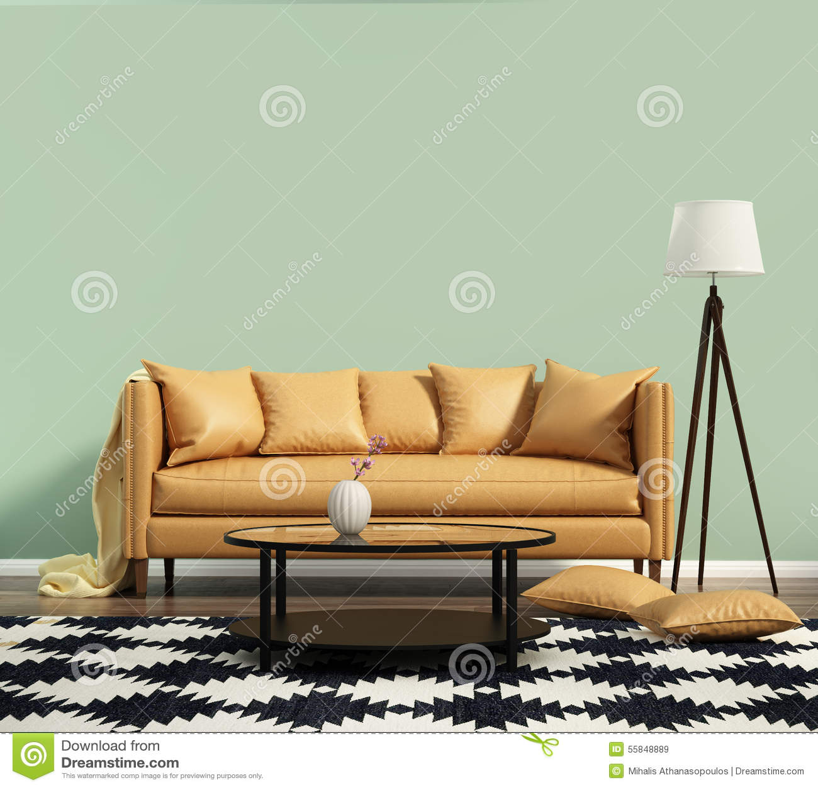 Wohnzimmer Mit Einem Ledernen Sofa Mit Grüner Wand Stockbild ...