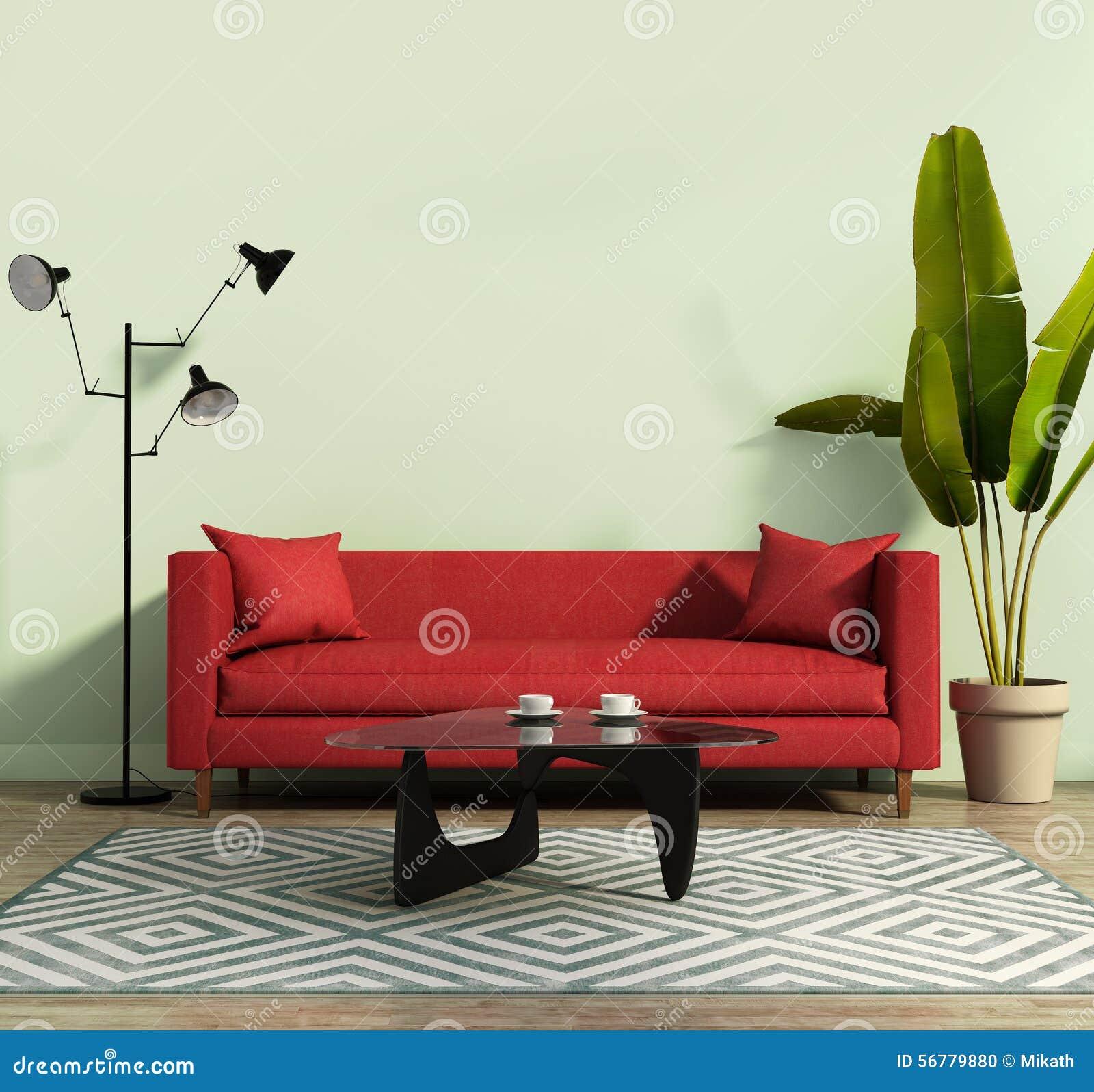 wohnzimmer mit einem roten sofa und einer geometrischen wolldecke stockfoto bild 56779880. Black Bedroom Furniture Sets. Home Design Ideas