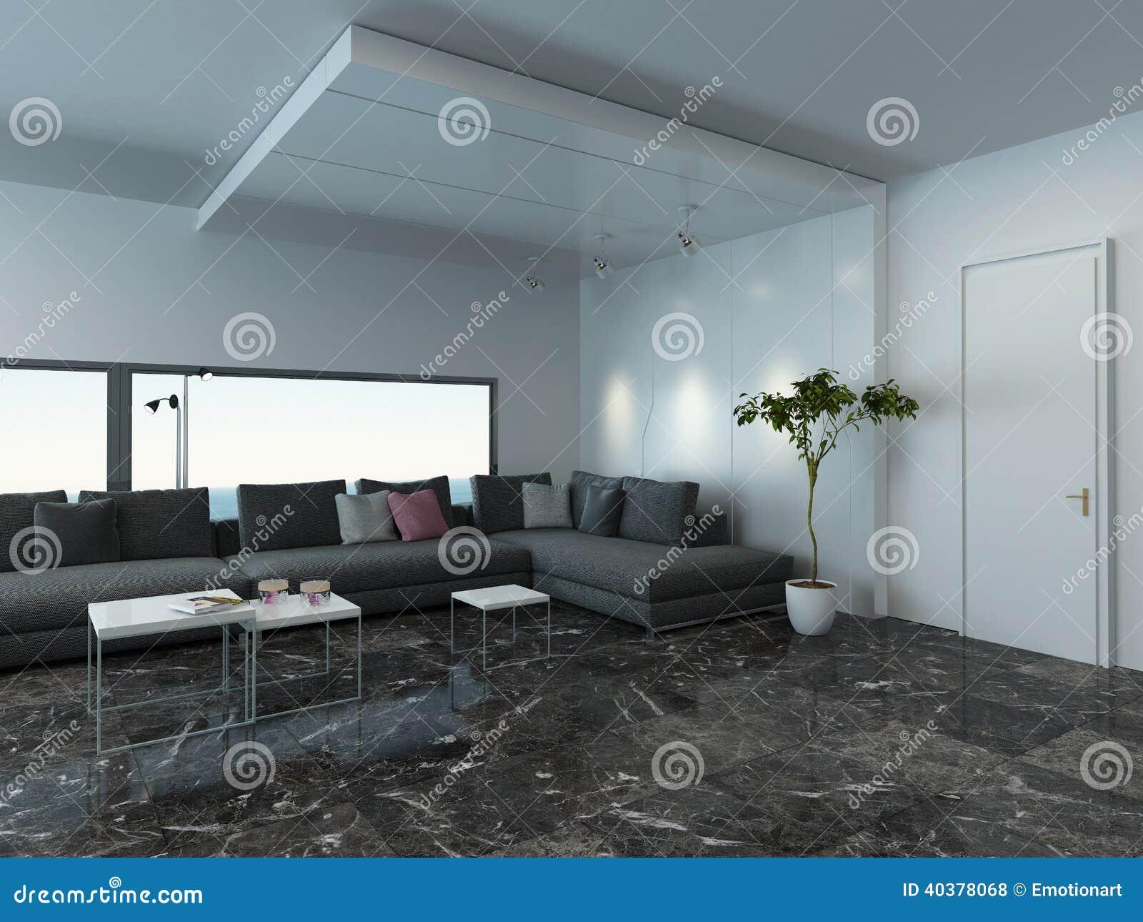 wohnzimmer mit grauem couch und marmorboden stockfoto. Black Bedroom Furniture Sets. Home Design Ideas