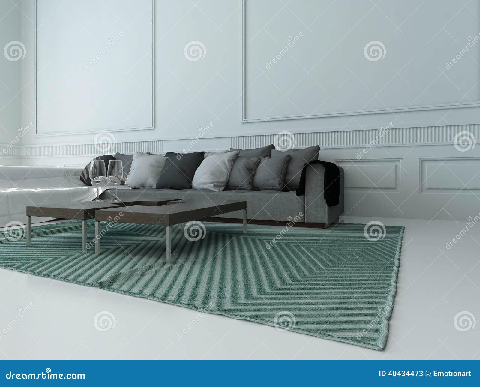 Wohnzimmer Mit Grauer Couch Gegen Weiße Wand Stock Abbildung ...