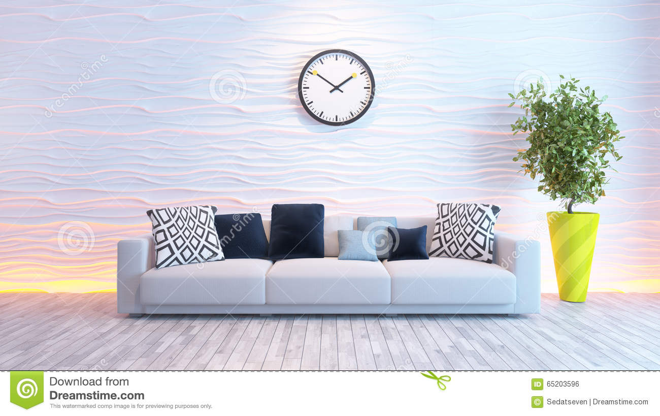 Affordable Great Best Wohnzimmer Mit Groer Uhr Auf Weier Wellenwand Stock  Abbildung With Groer Weier With Groer Weier With Groer Weier