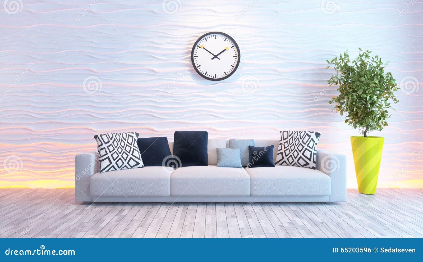 Wohnzimmer mit großer uhr auf weißer wellenwand stock abbildung ...