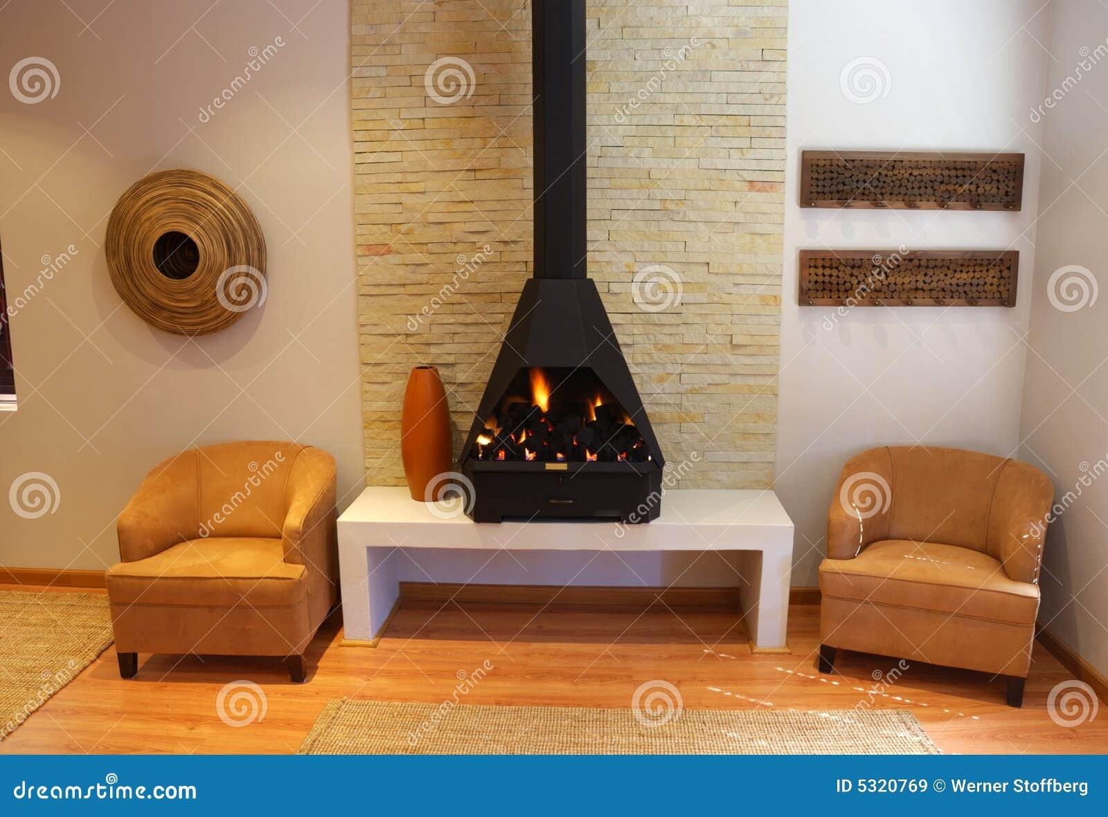 Wohnzimmer Mit Kamin Lizenzfreie Stockbilder