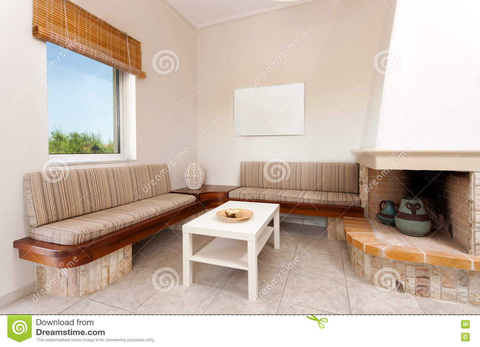 Download Wohnzimmer Mit Kamin Stockfoto. Bild Von Nachrichten   80454530