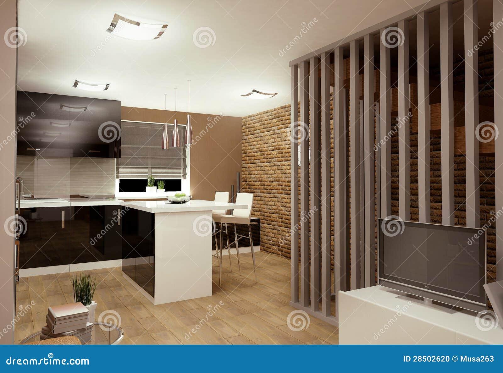 Wohnzimmer Mit Kochnische Stockfoto