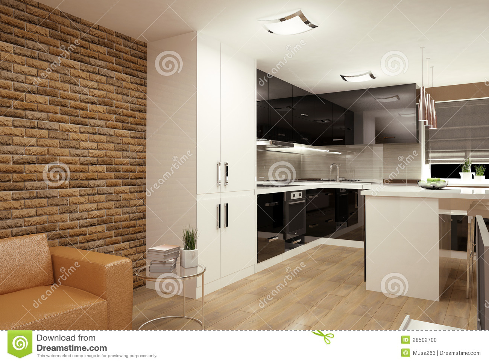 wohnzimmer mit kochnische stockfoto bild 28502700. Black Bedroom Furniture Sets. Home Design Ideas