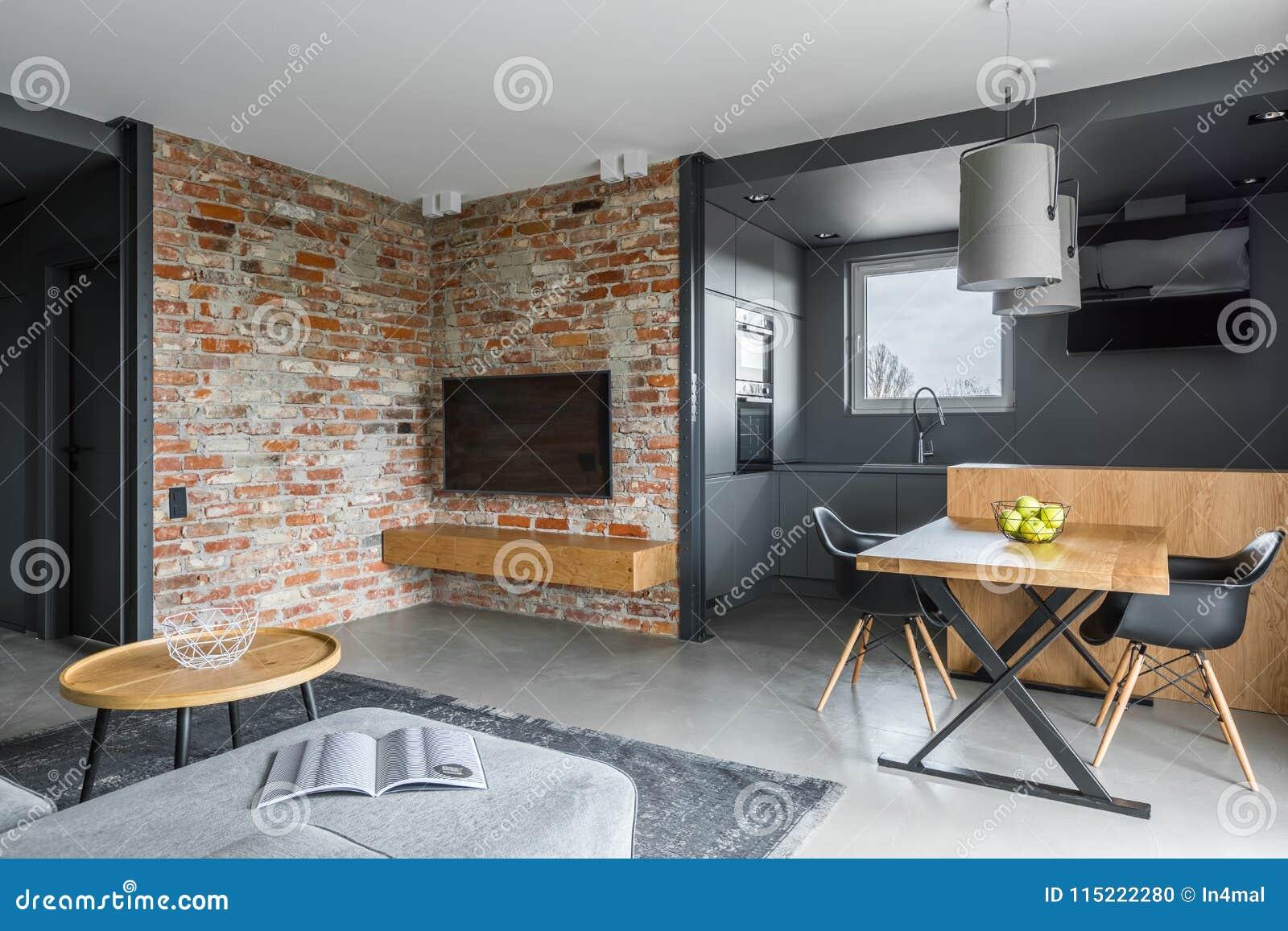 Wohnzimmer Mit Offener Küche Stockfoto - Bild von flach ...