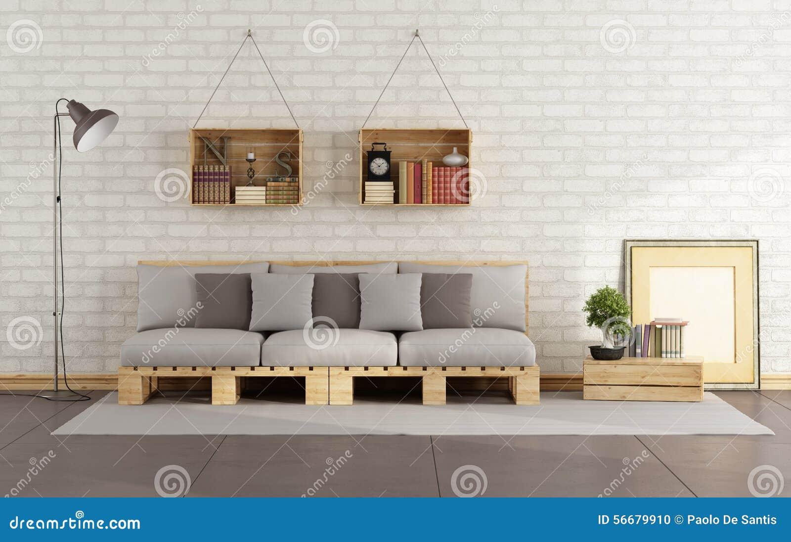 Wohnzimmer Mit Palettensofa Stock Abbildung Bild 56679910