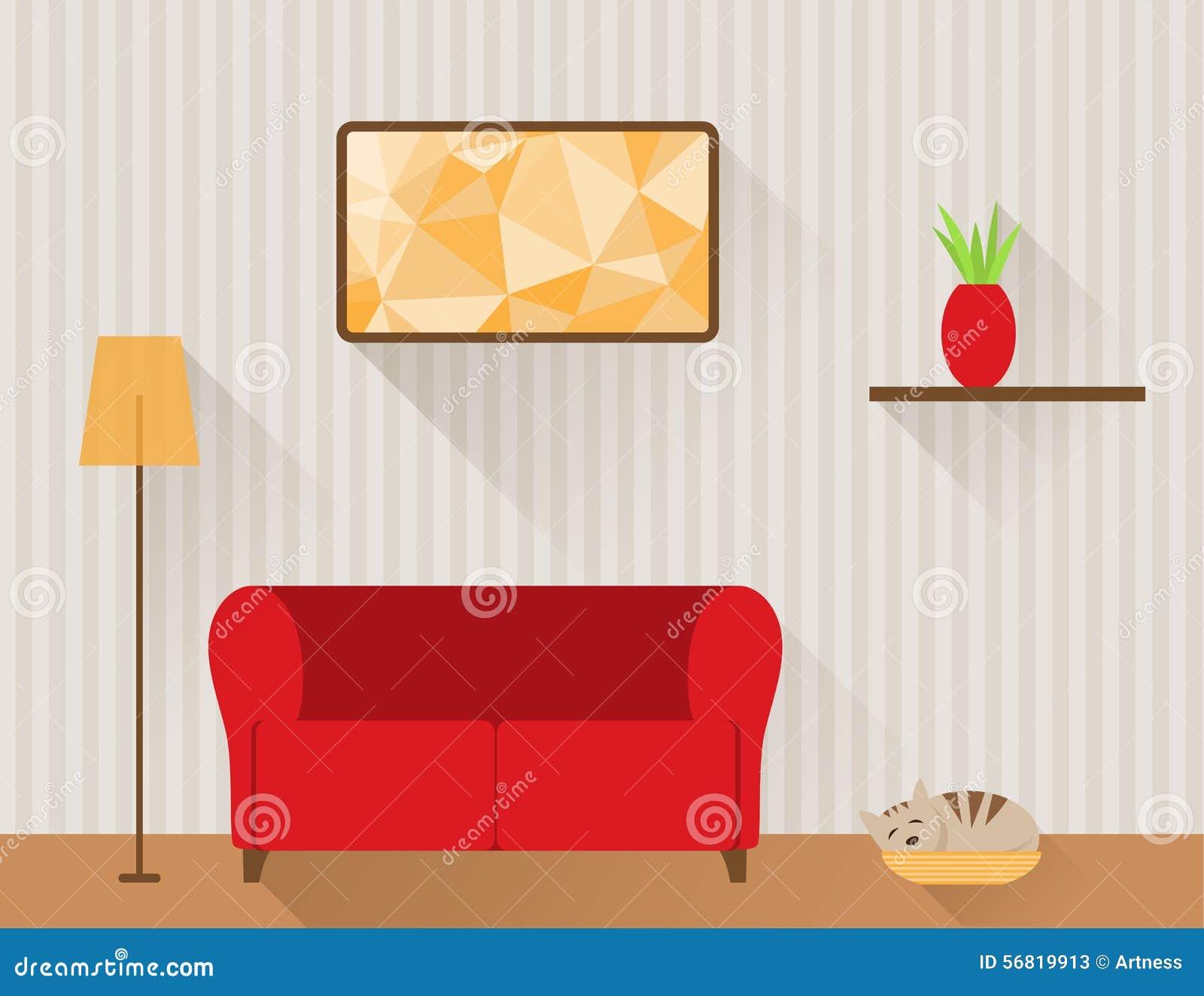 wohnzimmer mit rotem sofa und katze vektor abbildung - bild: 56819913