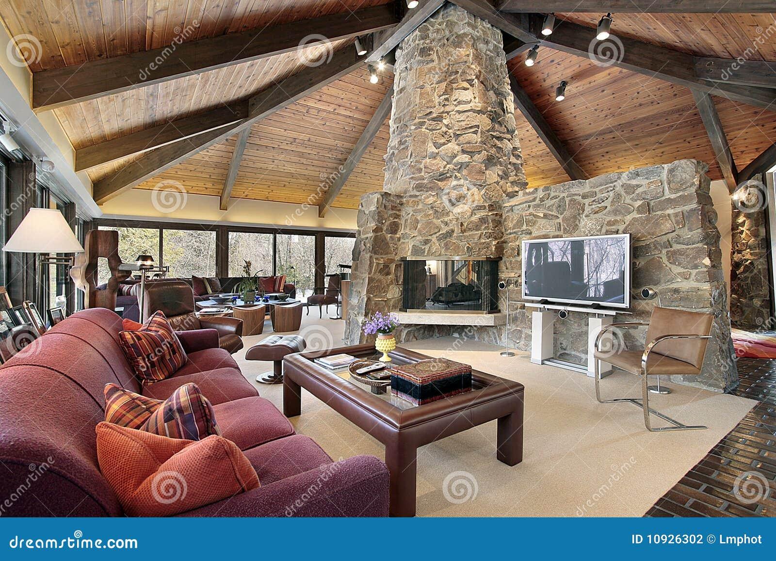 wohnzimmer mit steinkamin - Steinkamin