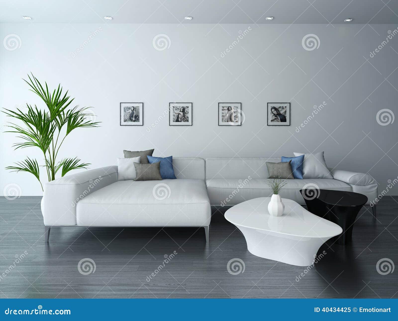 Fesselnd Wohnzimmer Mit Weißer Couch Und Porträts. Bequemlichkeit, Portrait.