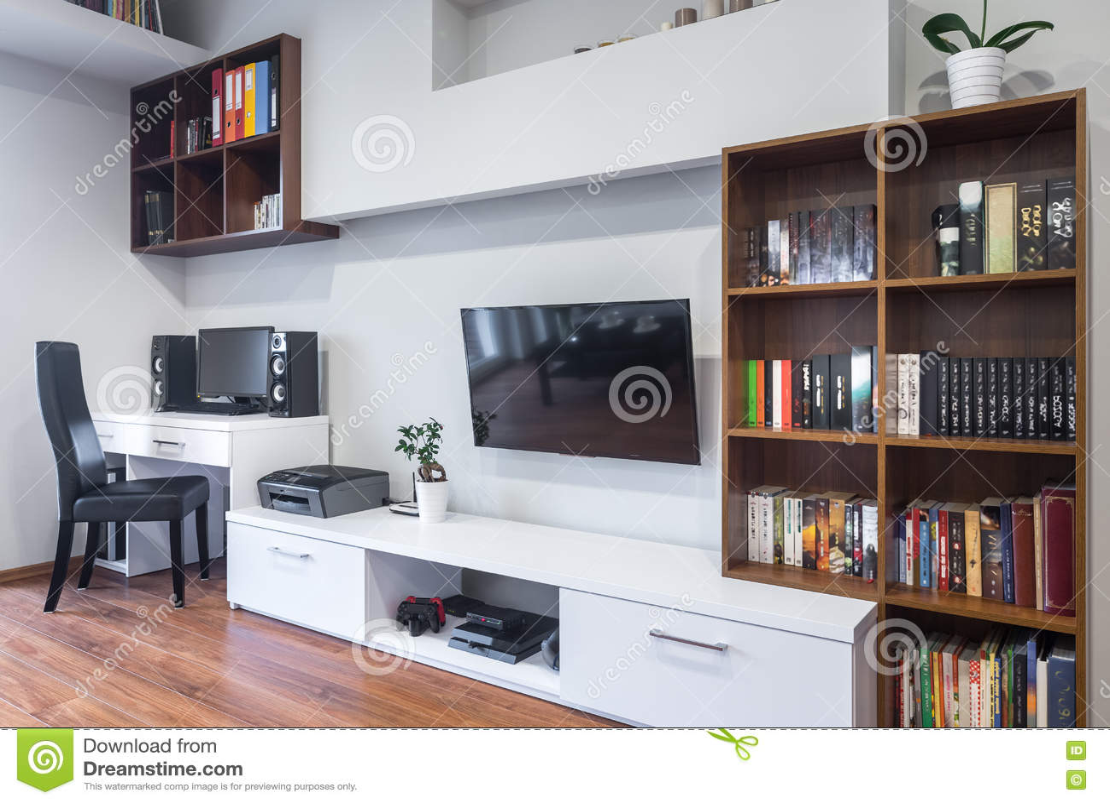 wohnzimmer und büro kombiniert stockfoto - bild: 77904506, Wohnzimmer
