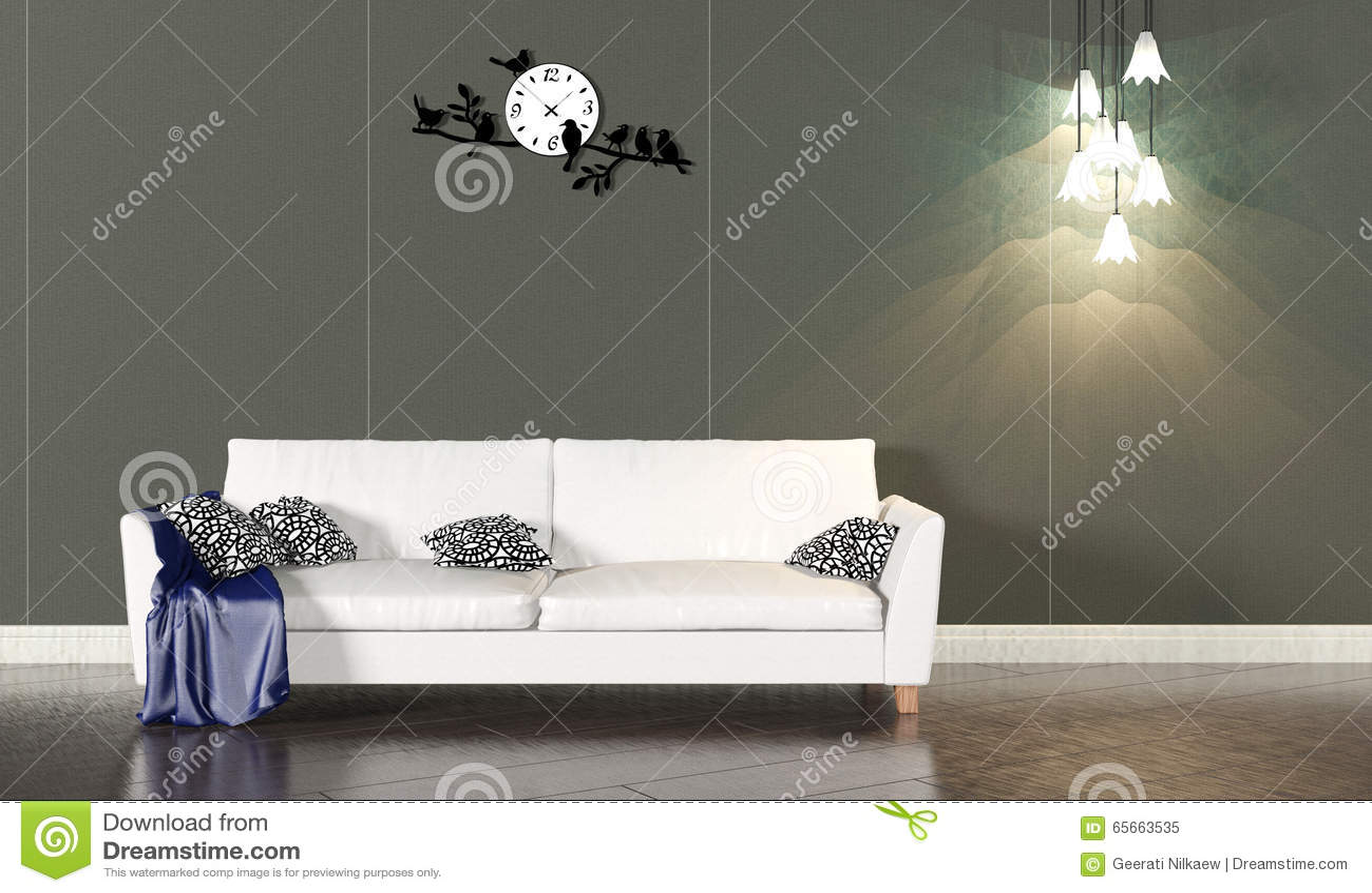 Wohnzimmerinnenraum Mit Weissem Sofa Und Dunkler Wand Stockbild Bild Von Wohnzimmerinnenraum Dunkler 65663535