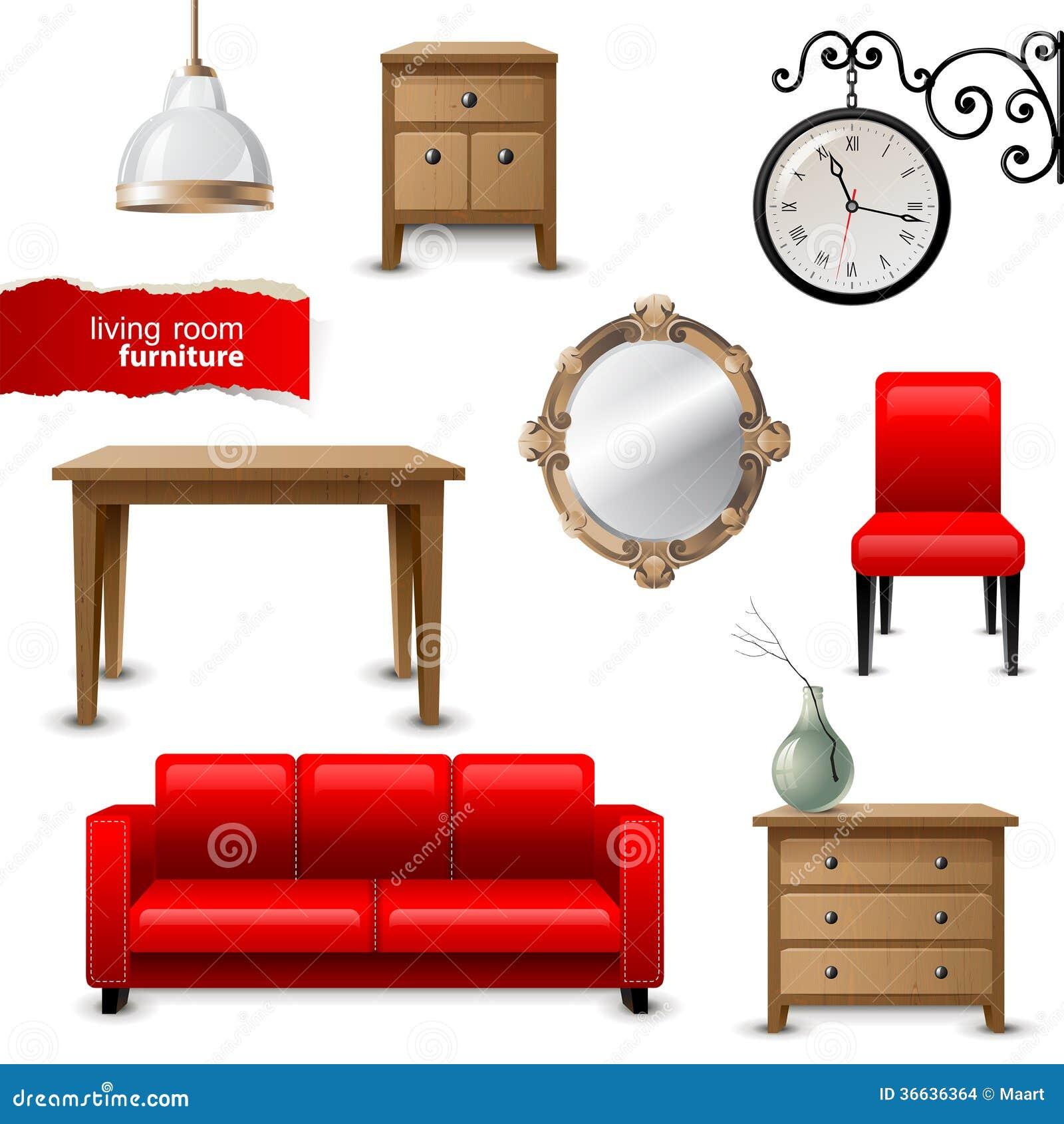 Wohnzimmermöbel vektor abbildung. Illustration von haus - 36636364