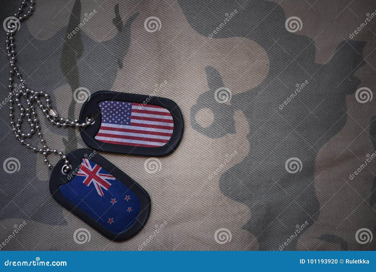 Wojska puste miejsce, psia etykietka z flaga zlani stany America i nowy Zealand na khakim tekstury tle,