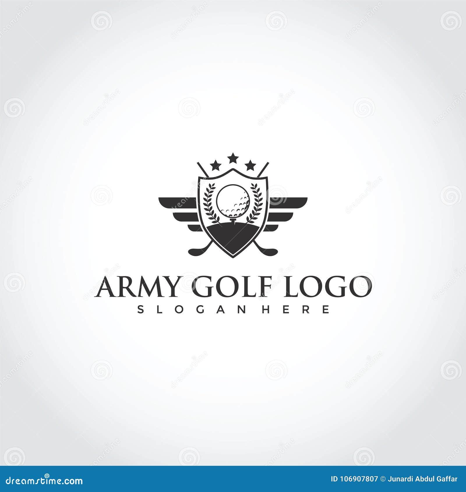 Wojsko kija golfowego loga projekt Wektorowy ilustrator EPS 10