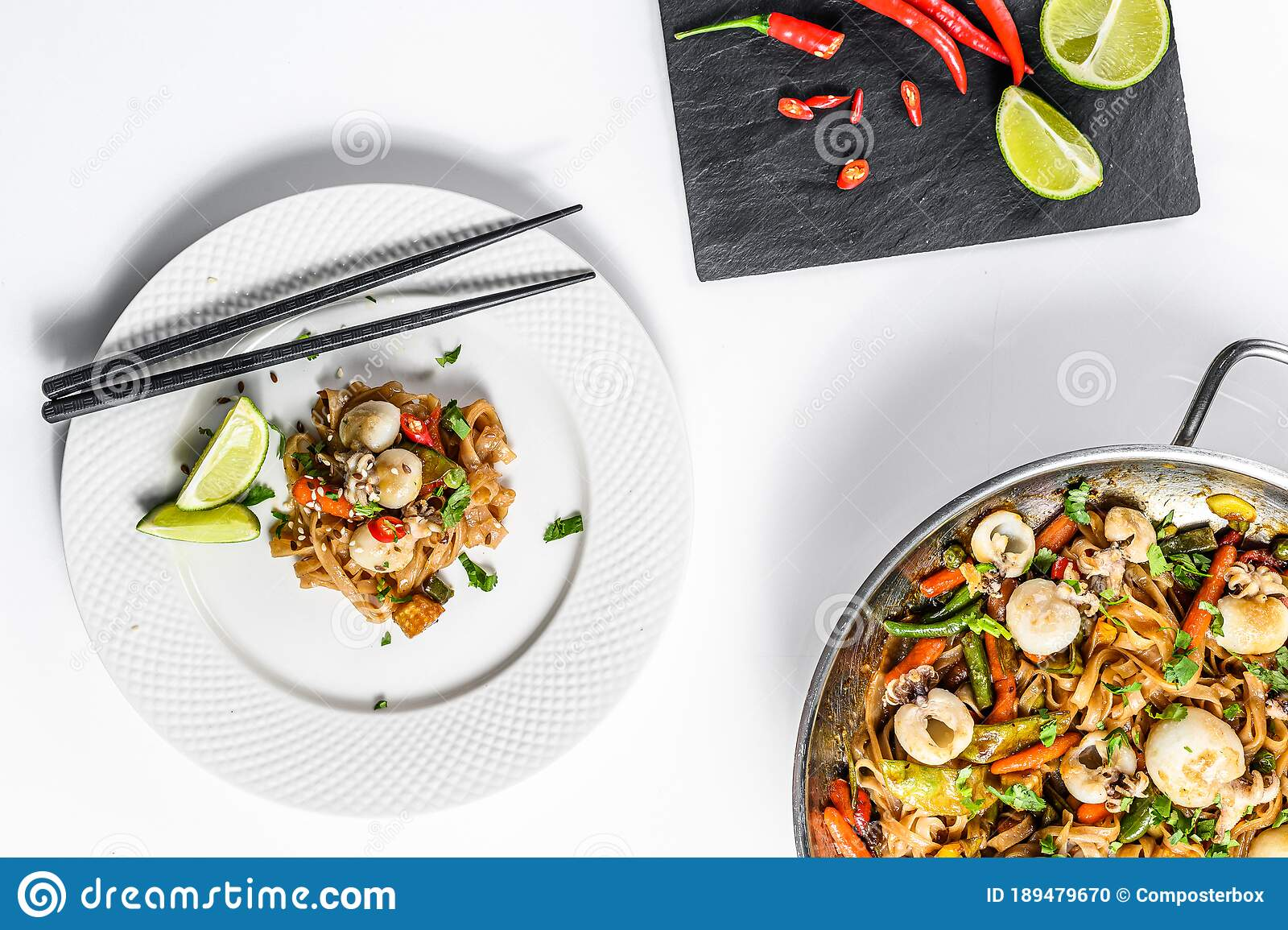 Wok With Stir Fry Udon Noodles, Seafood ...