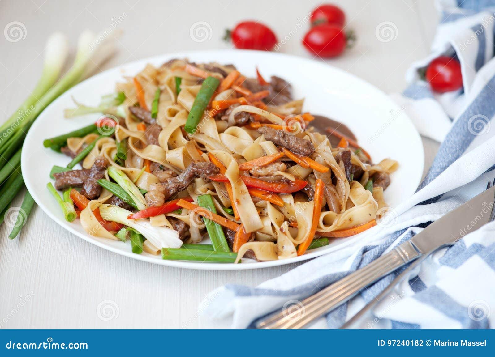 Woka Nudlar med kött och grönsaker i kines