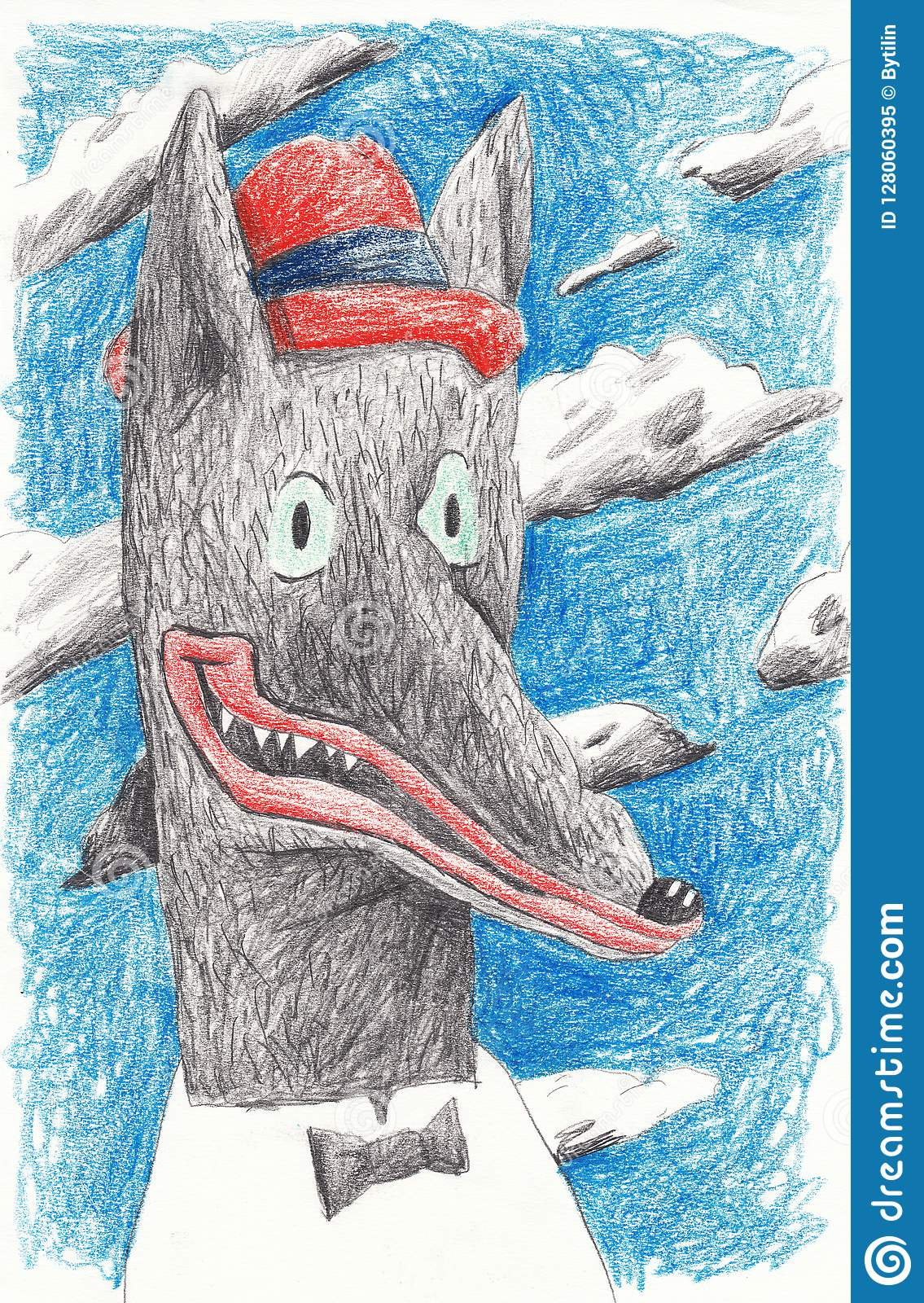 Wolf actor in a red hat. Illustration for editions and posters in the interior.