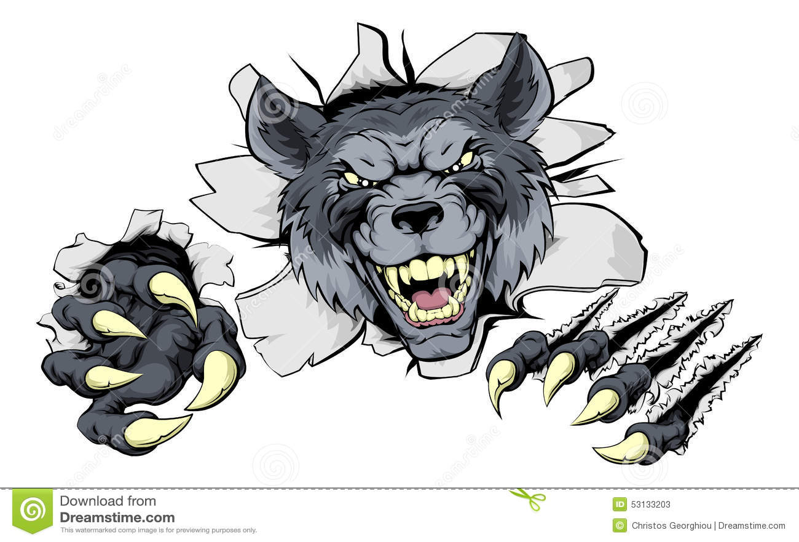 wolf claws break out stock vector image 53133203 Bear Tracks Clip Art Black Bear Clip Art