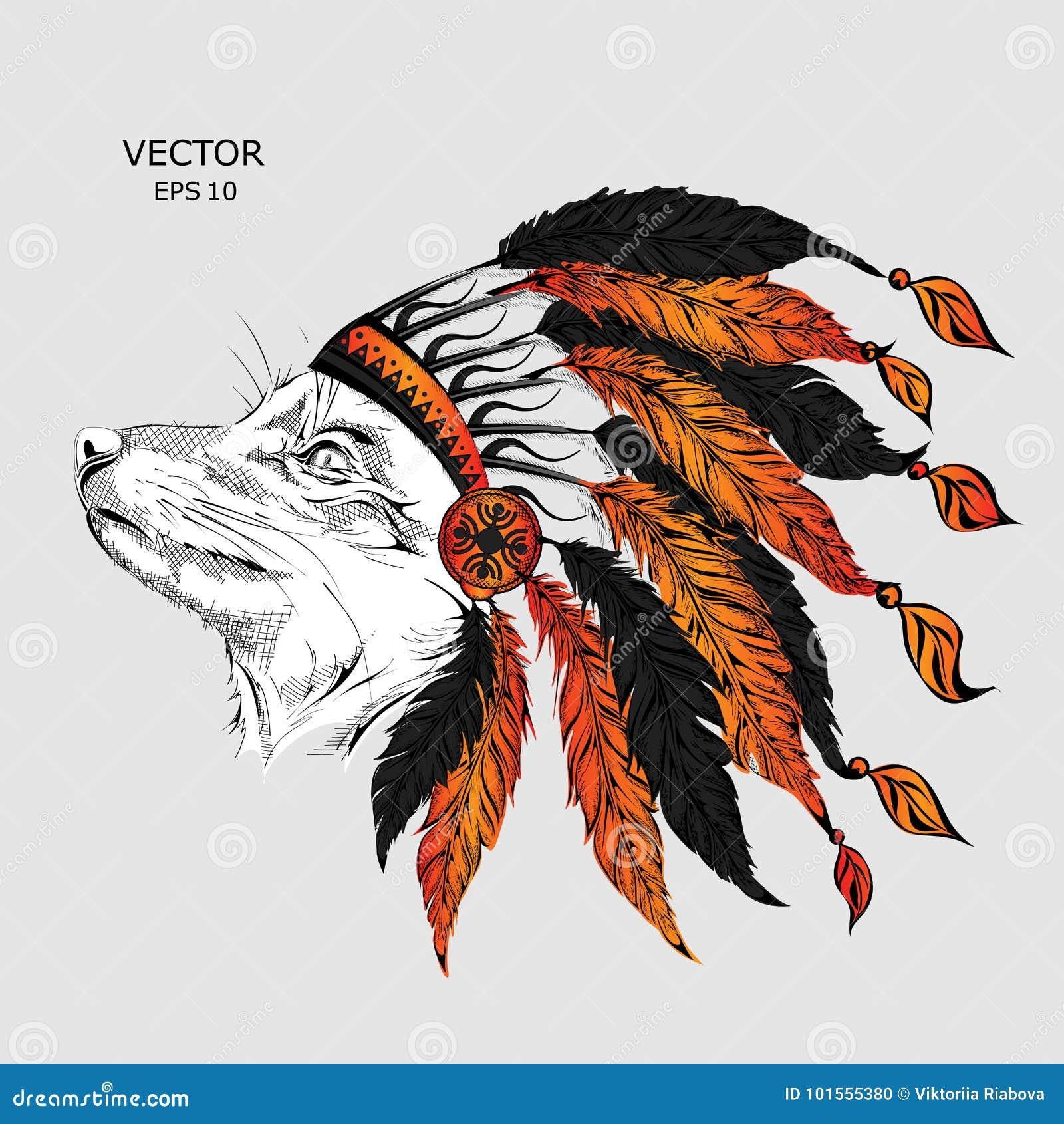Mens T-shirt Native American Indian Chief Wolf Head Spirit Animal