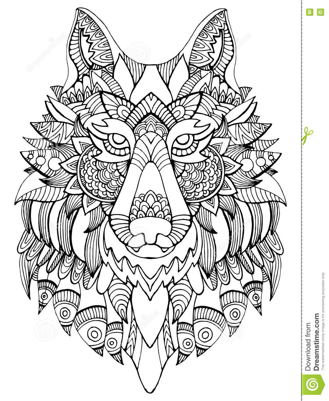 Wolf Coloring Book For Adults Vector Illustration Stock ...