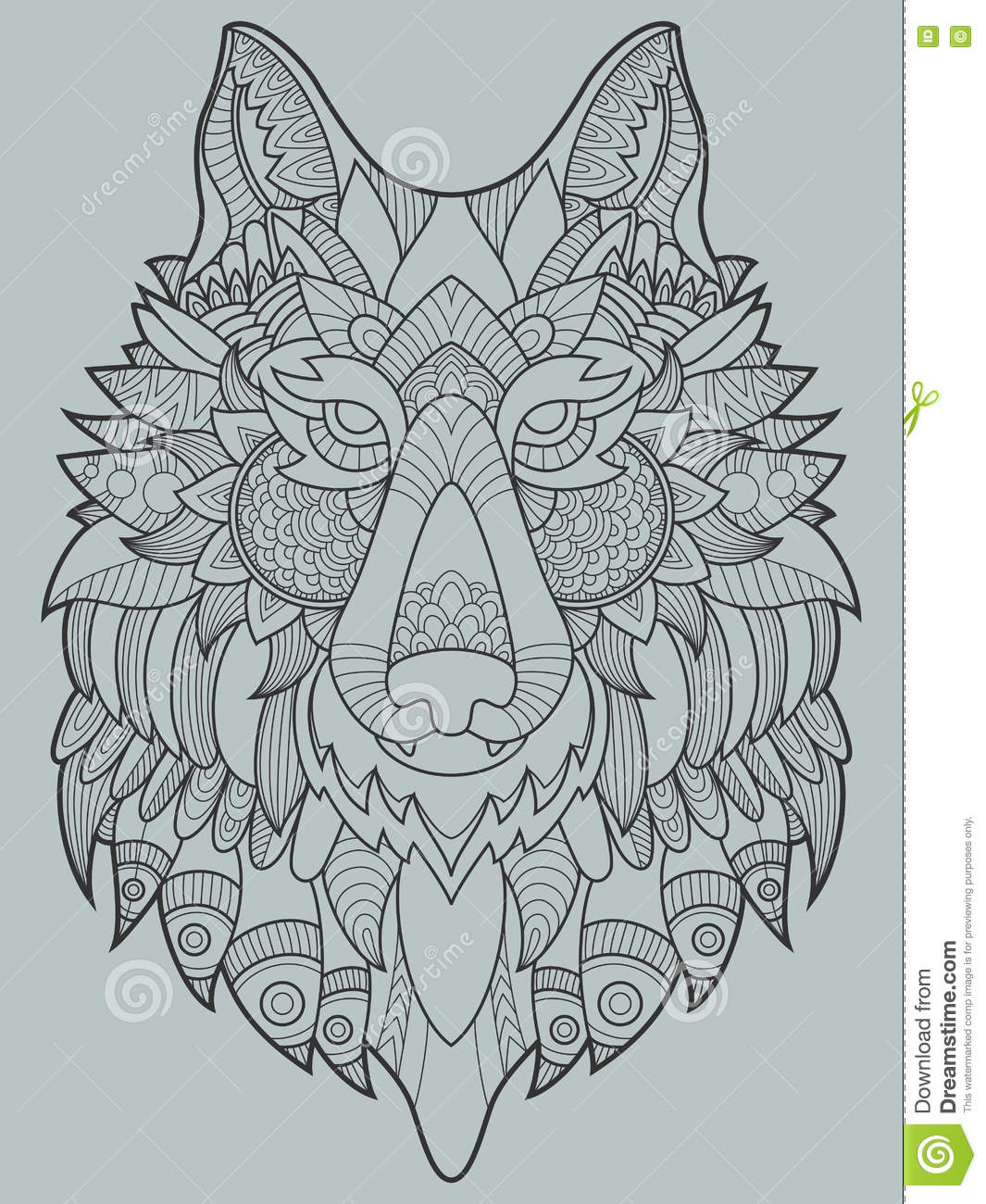 wolf coloring book for adults vector illustration stock vector