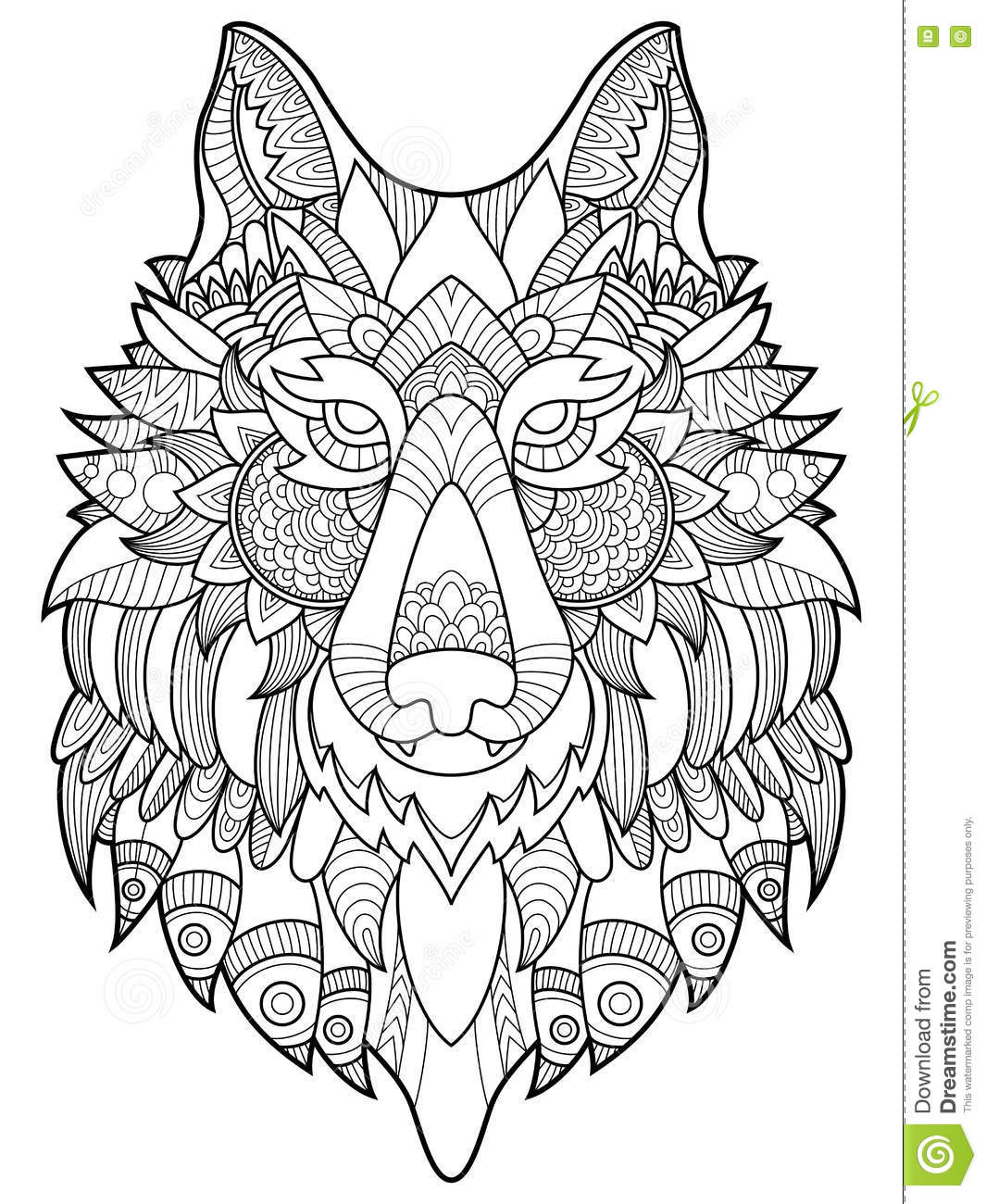 Wolf Coloring Book For Adults Vector Illustration Stock Vector ...