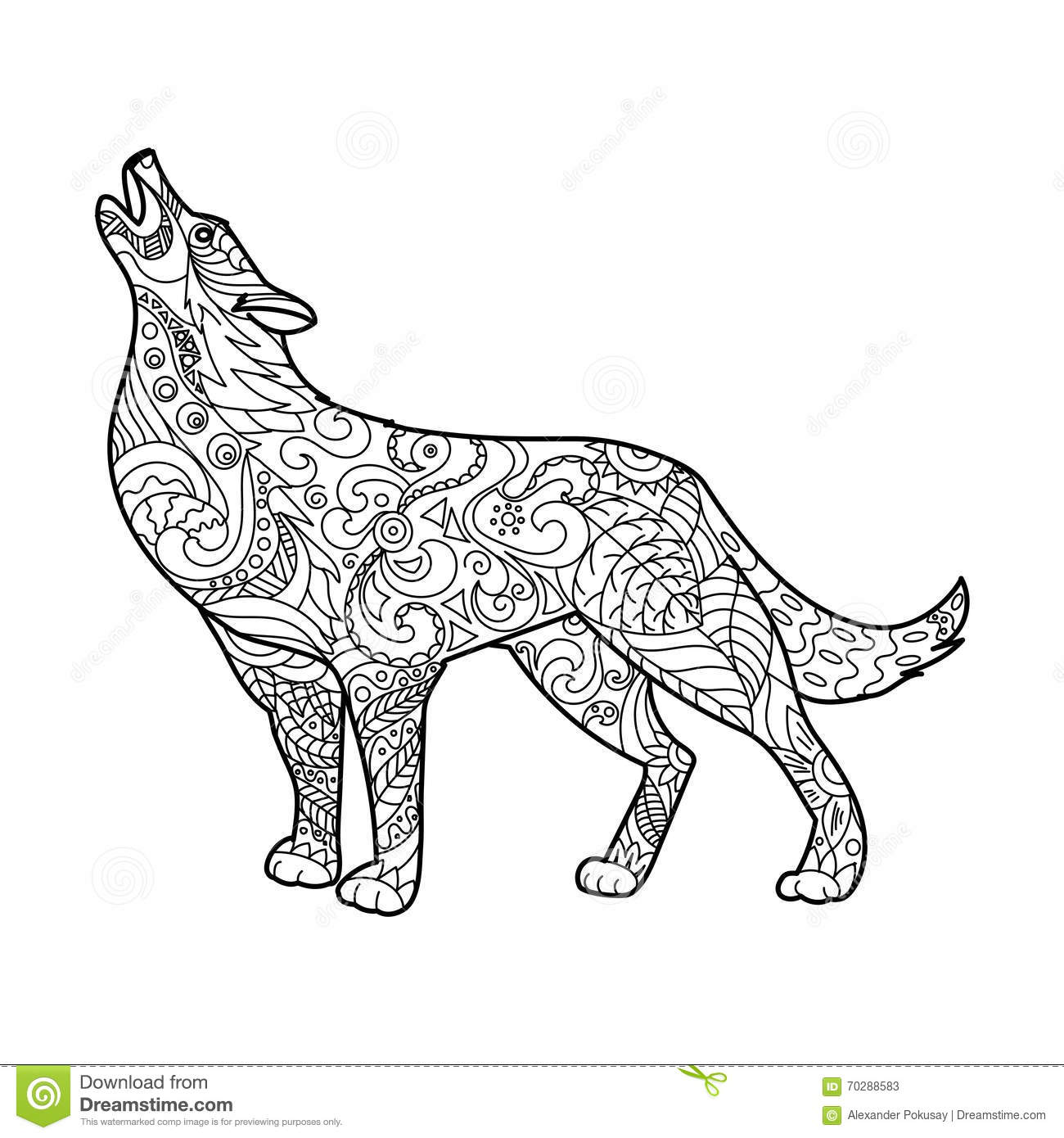 royalty free vector download wolf coloring book - Wolf Coloring Book