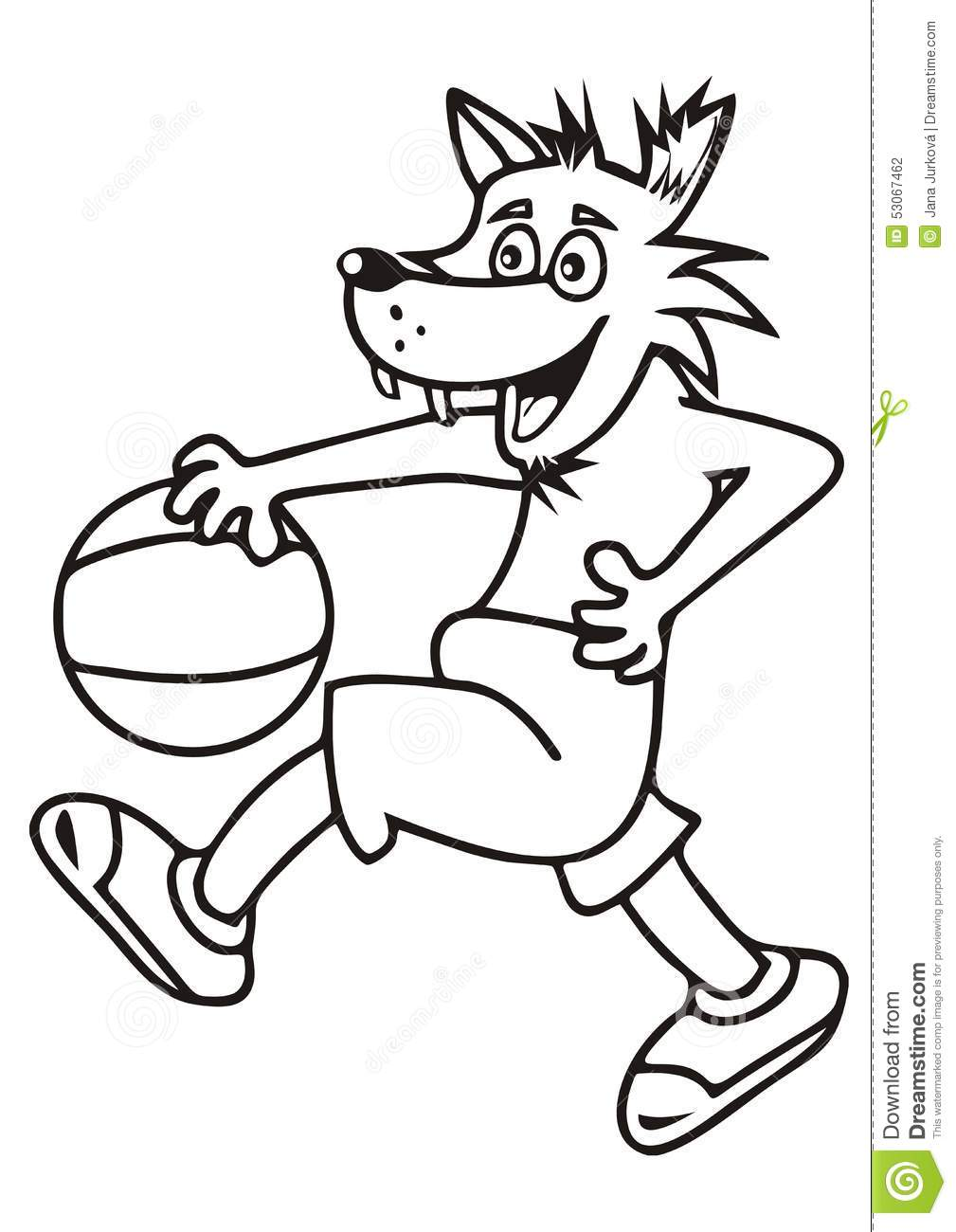 Wolf, coloring book stock vector. Illustration of black ...