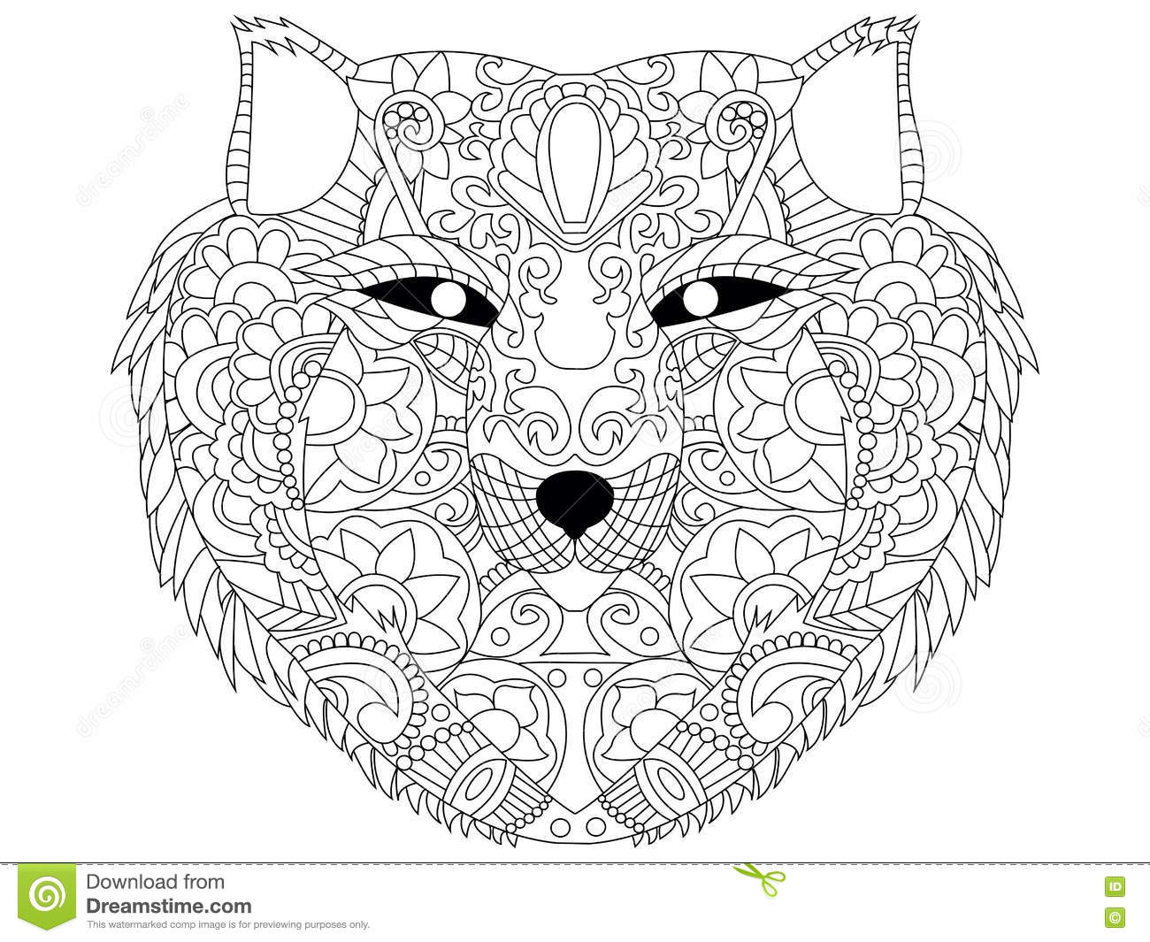 Download Wolf Coloring Vector For Adults Stock