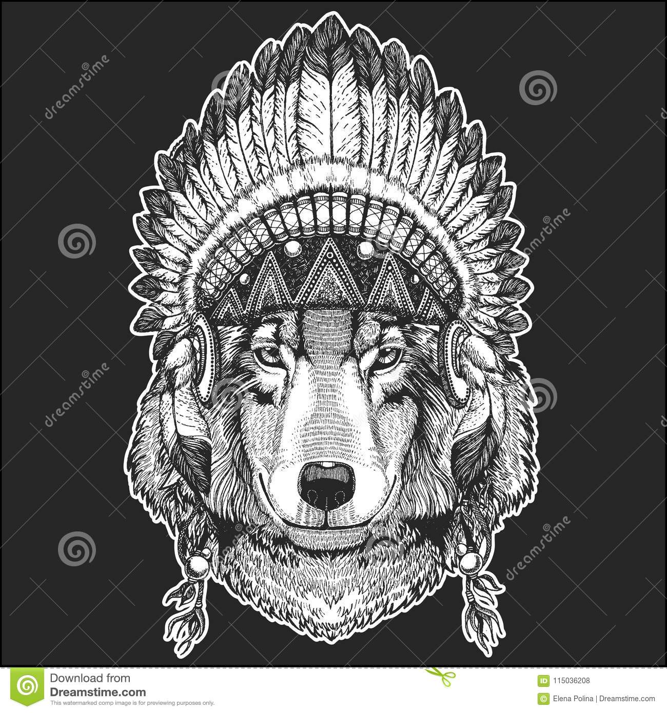 966812f31 Wolf Dog Cool animal wearing native american indian headdress with feathers  Boho chic style Hand drawn