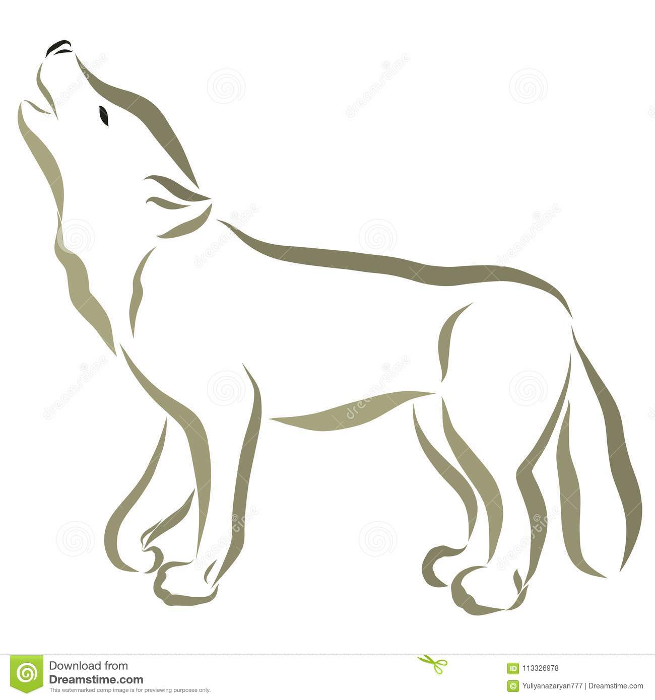 A wolf, a dog painted in flowing lines