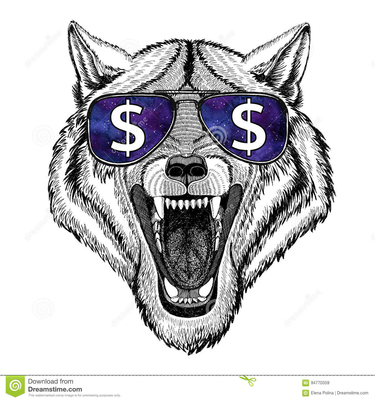 Wolf Dog Wild animal wearing glasses with dollar sign