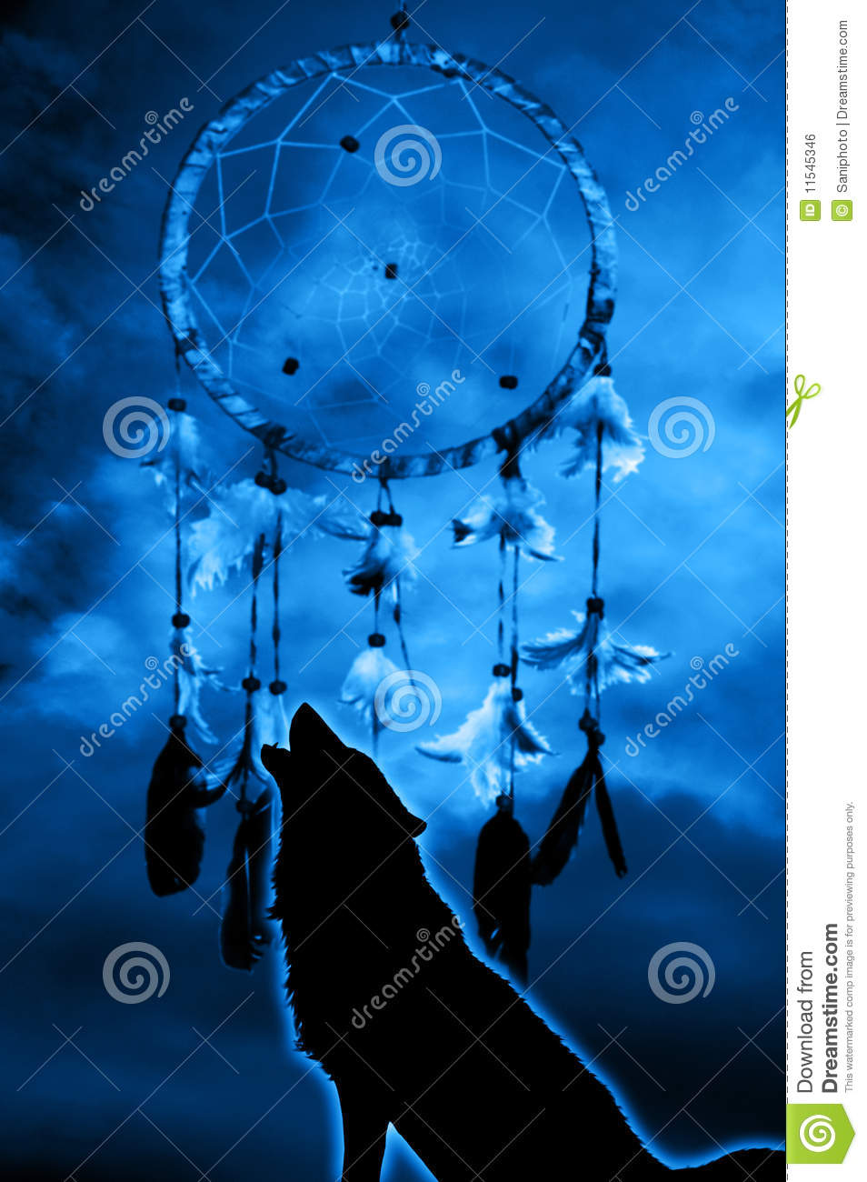 wolf and dream catcher stock illustration illustration of
