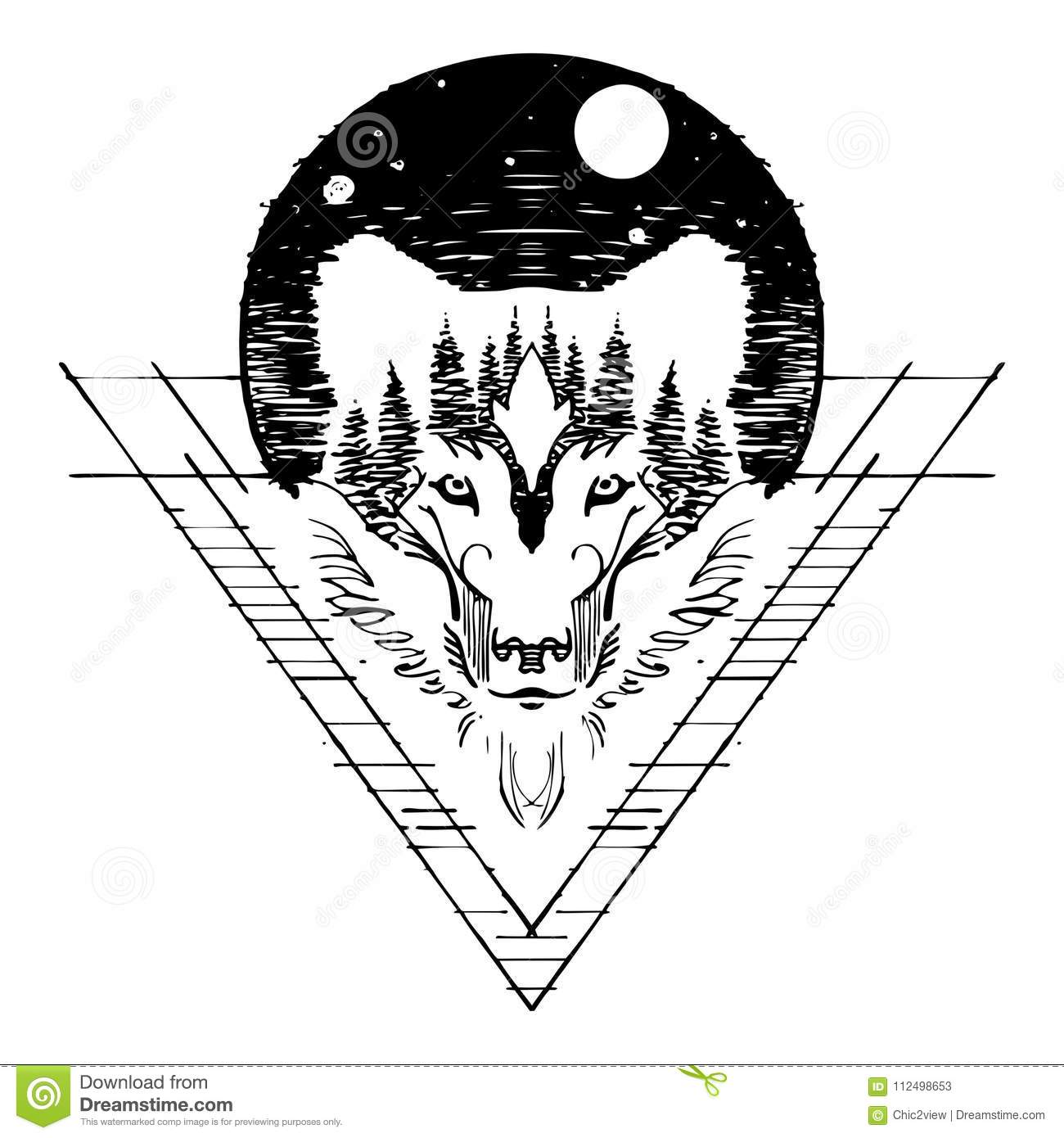 0cc6447a0 Wolf face double exposure with forest and full moon in night sky design  with sketch pen style for tattoo with white background