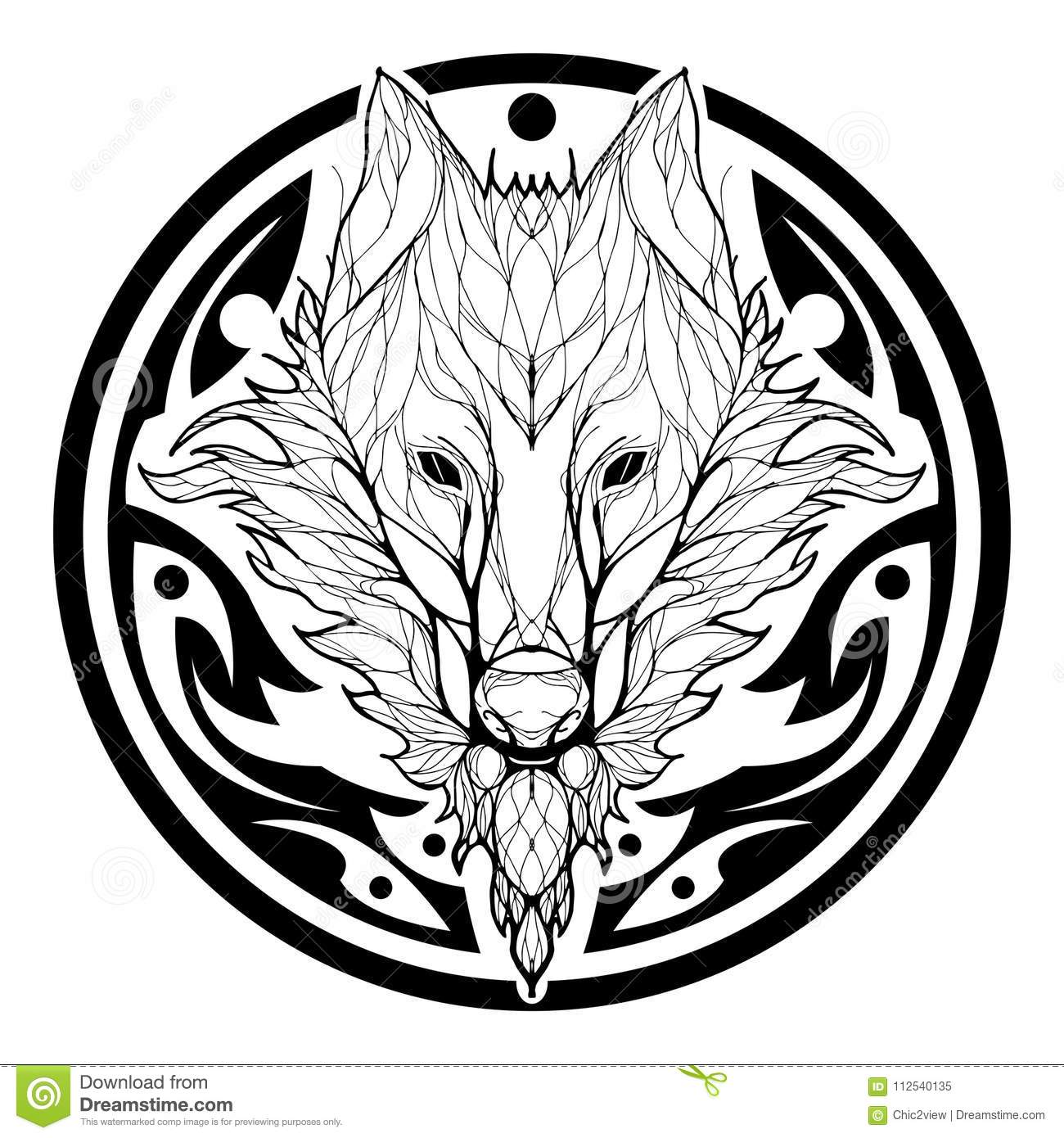 be3980f5e Wolf face double exposure with tree in Aztec tribal circle shape tattoo  black silhouette
