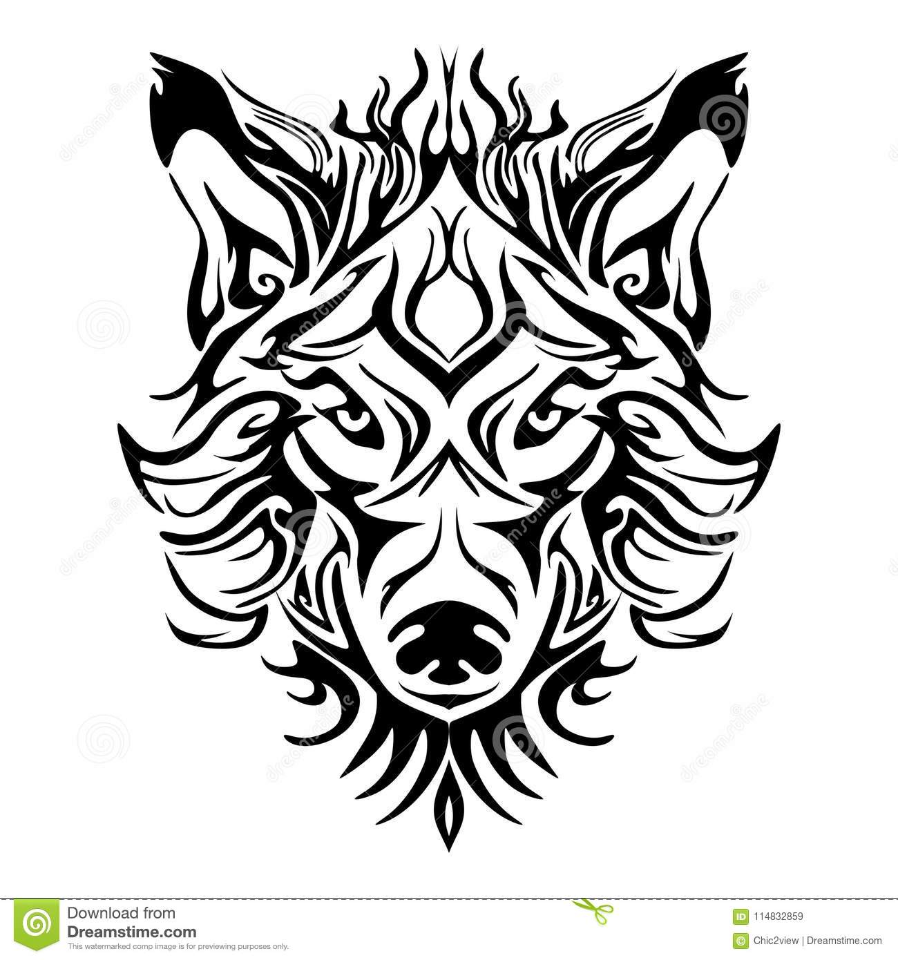 55b656f40 Wolf face head or wolf face design for tribal tattoo style with white  background
