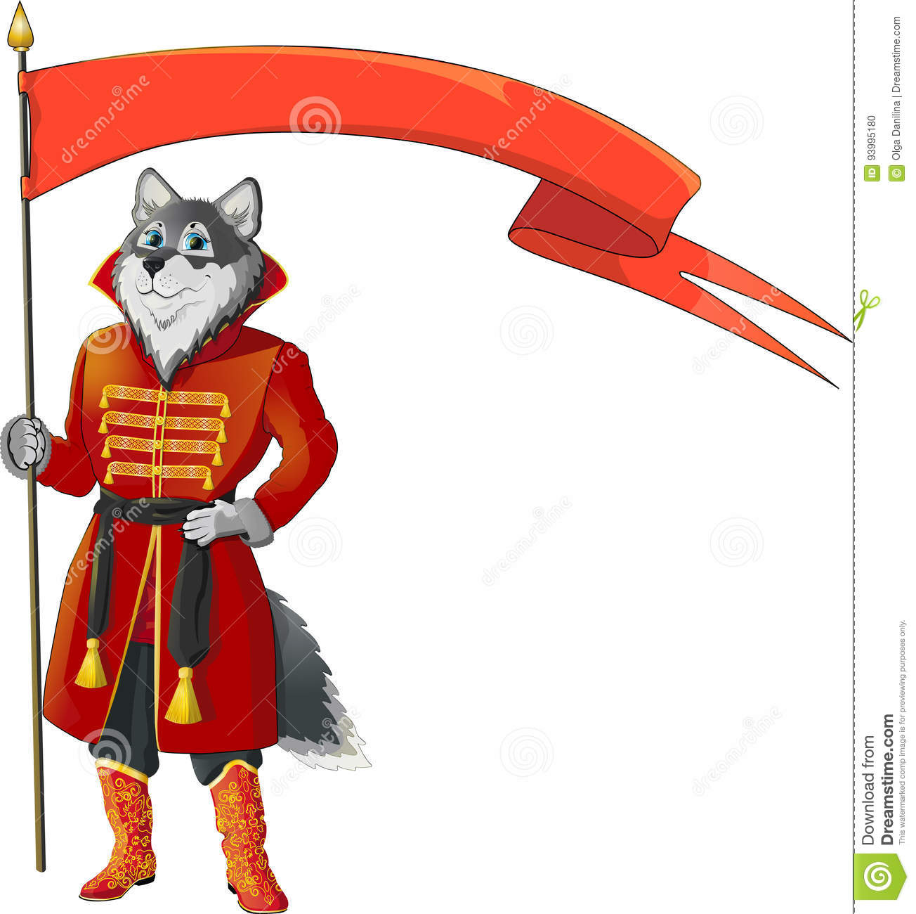 Wolf with flag stock vector. Illustration of cheerful - 93995180